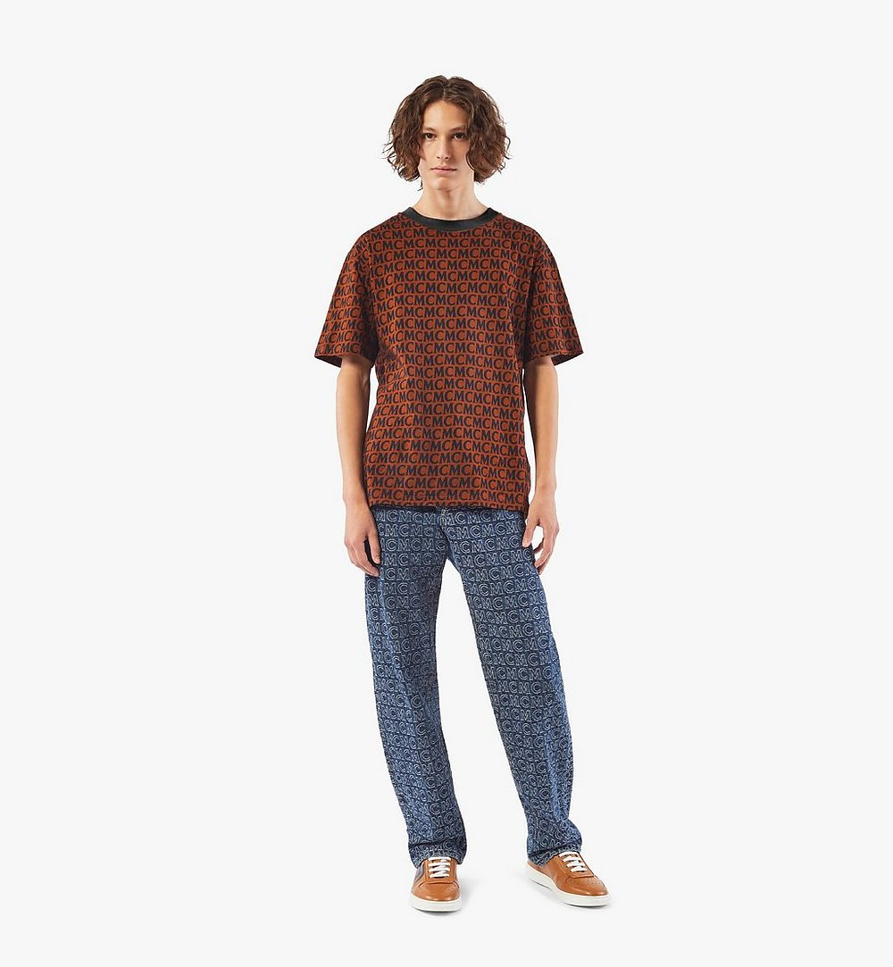 MCM Men's Monogram T-Shirt Brown MHTAAMD01C400L Alternate View 3