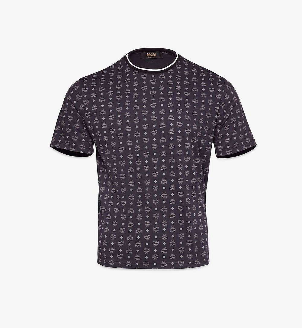 MCM Men's Visetos Print T-Shirt Black MHTAAMM05BK00L Alternate View 1