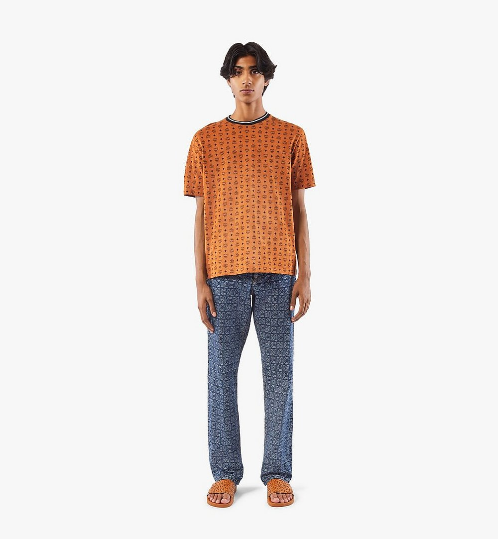 MCM Men's Visetos Print T-Shirt Cognac MHTAAMM05CO00S Alternate View 3