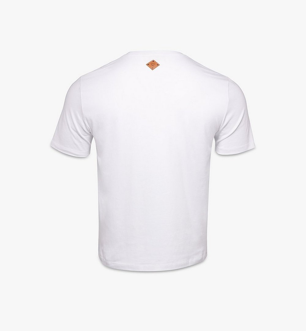 MCM Men's Berlin Bear Print T-Shirt White MHTAAMM06W200L Alternate View 1