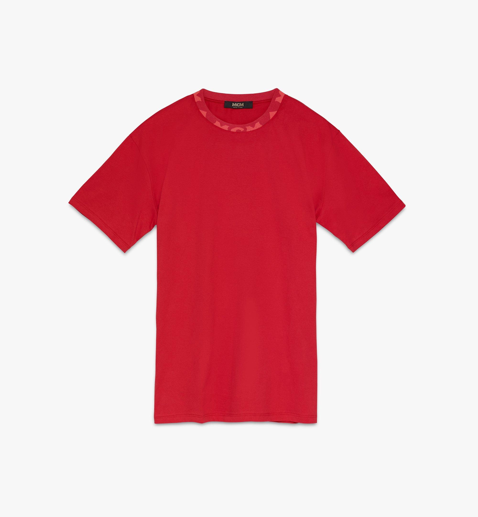 MCM Men's Logo Trim T-Shirt Red MHTASMM03R400L Alternate View 1