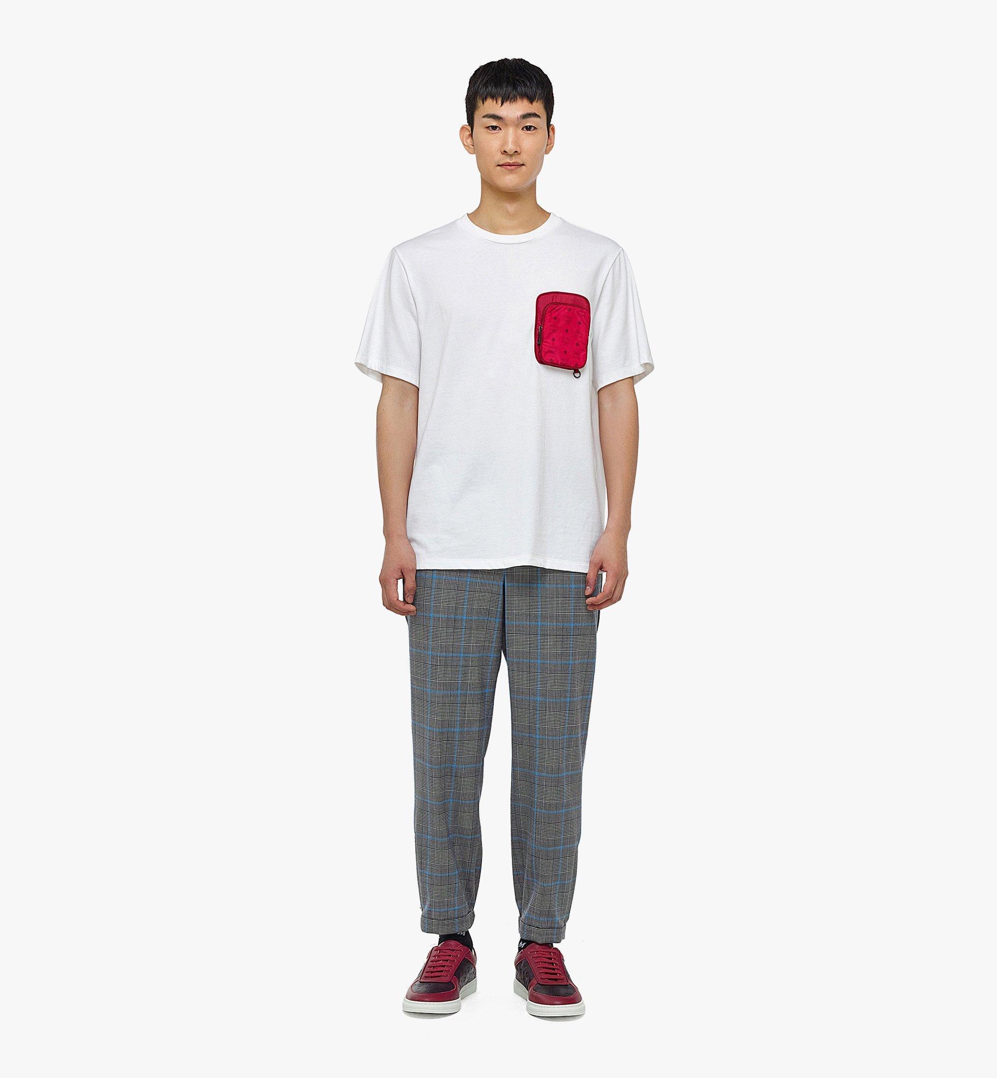MCM Men's Organic Cotton T-Shirt with Nylon Zip Pocket White MHTBAMM02WD00L Alternate View 3