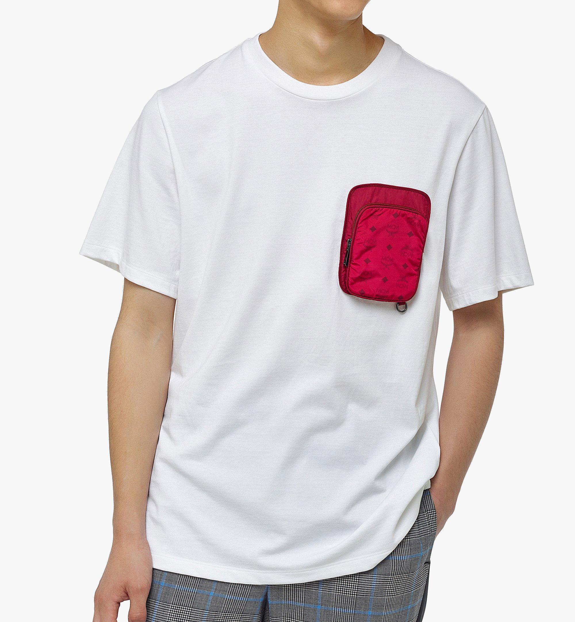 MCM Men's Organic Cotton T-Shirt with Nylon Zip Pocket White MHTBAMM02WD00L Alternate View 2