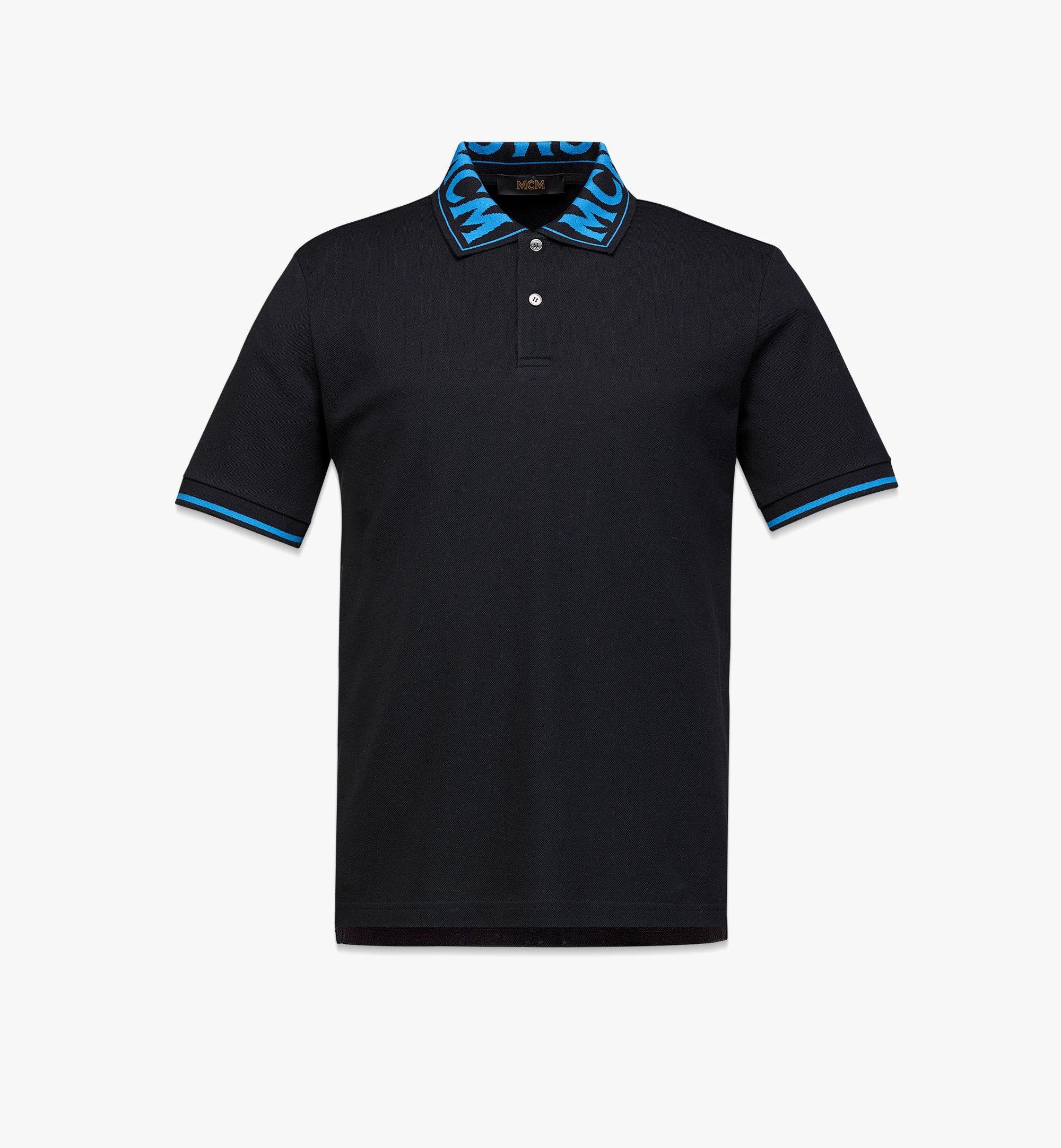 MCM Men's Logo Polo Shirt in Cotton Piqué Blue MHTBAMM04H900L Alternate View 1