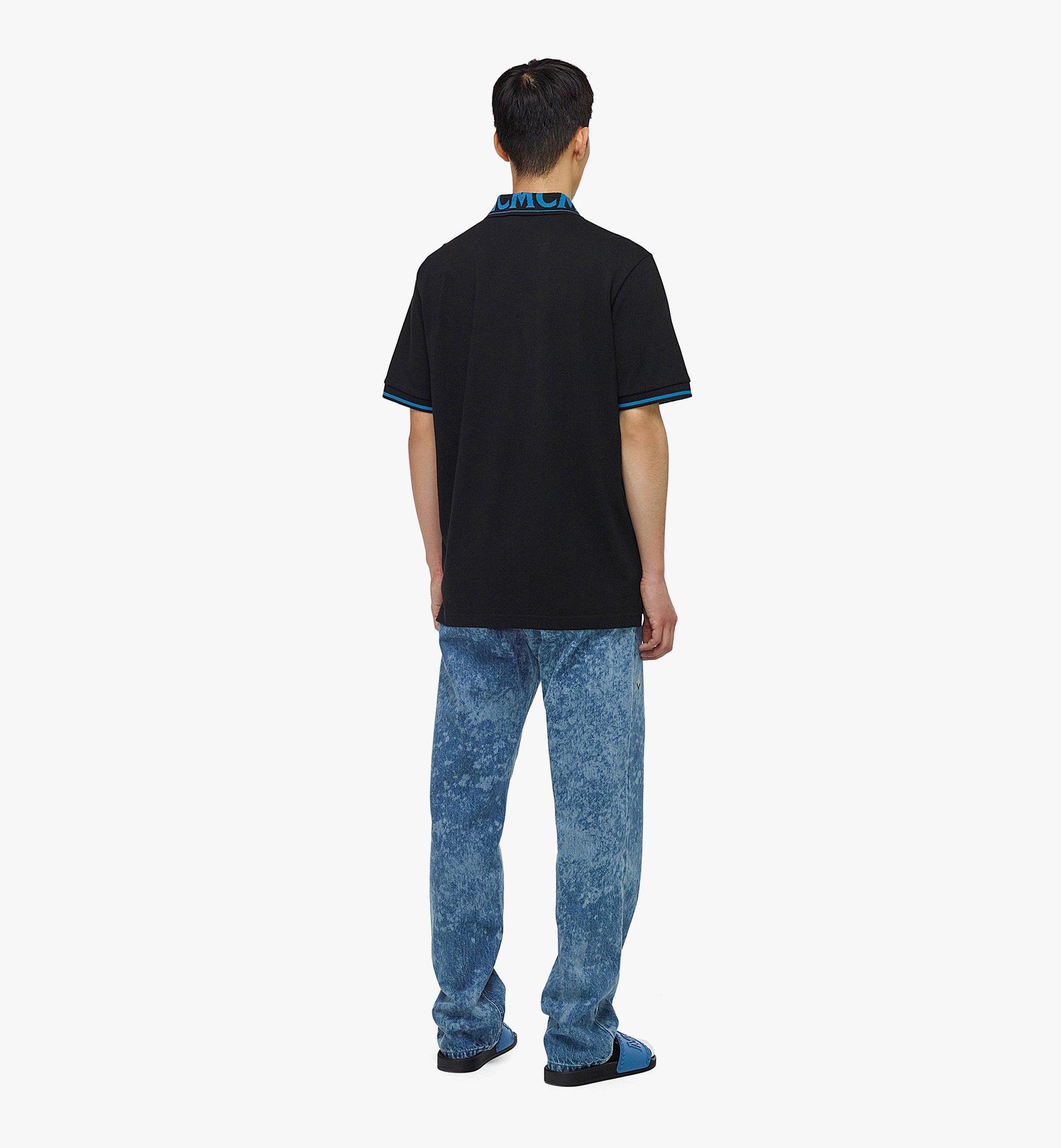 MCM Men's Logo Polo Shirt in Cotton Piqué Blue MHTBAMM04H900L Alternate View 2