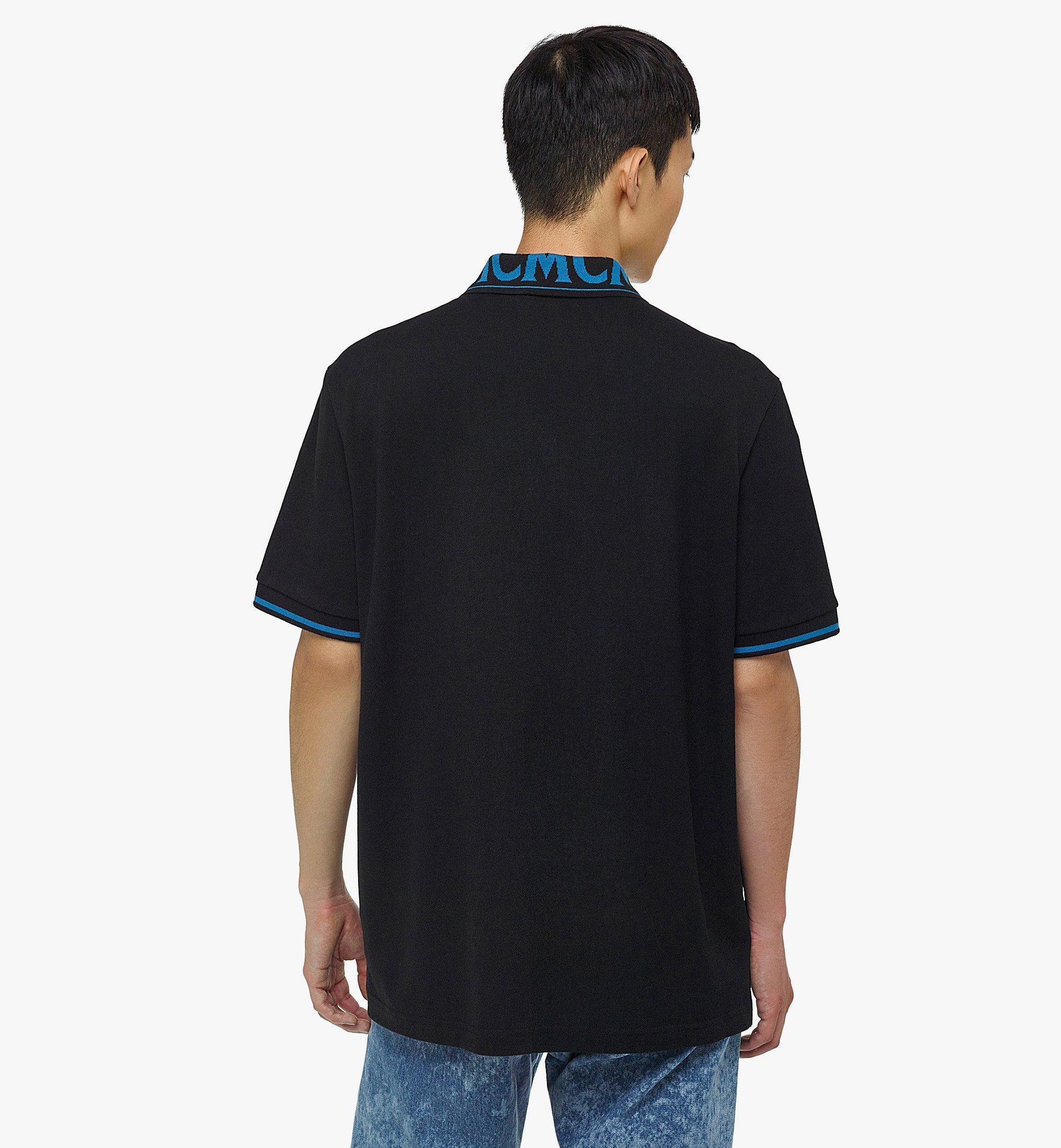 MCM Men's Logo Polo Shirt in Cotton Piqué Blue MHTBAMM04H900L Alternate View 3