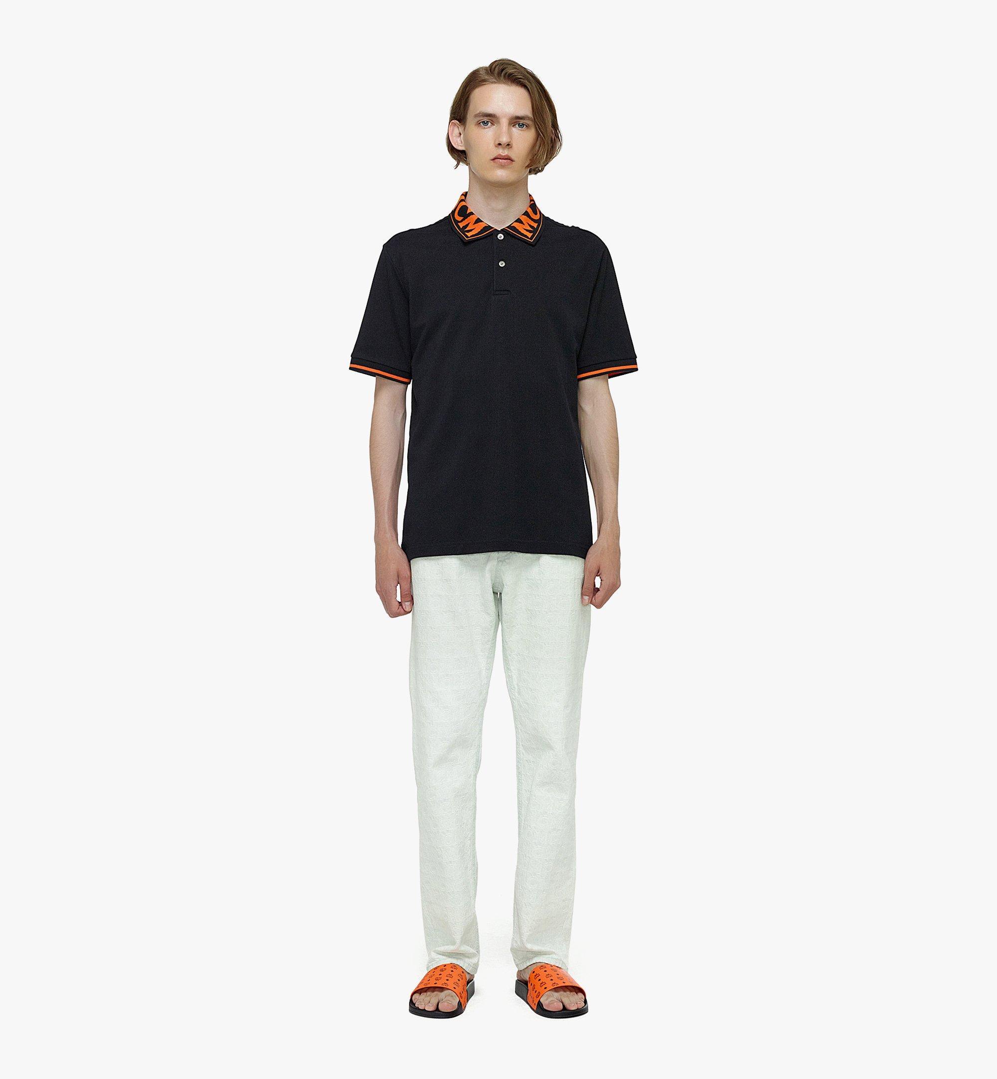 MCM Men's Logo Polo Shirt in Cotton Piqué Orange MHTBAMM04O900L Alternate View 3