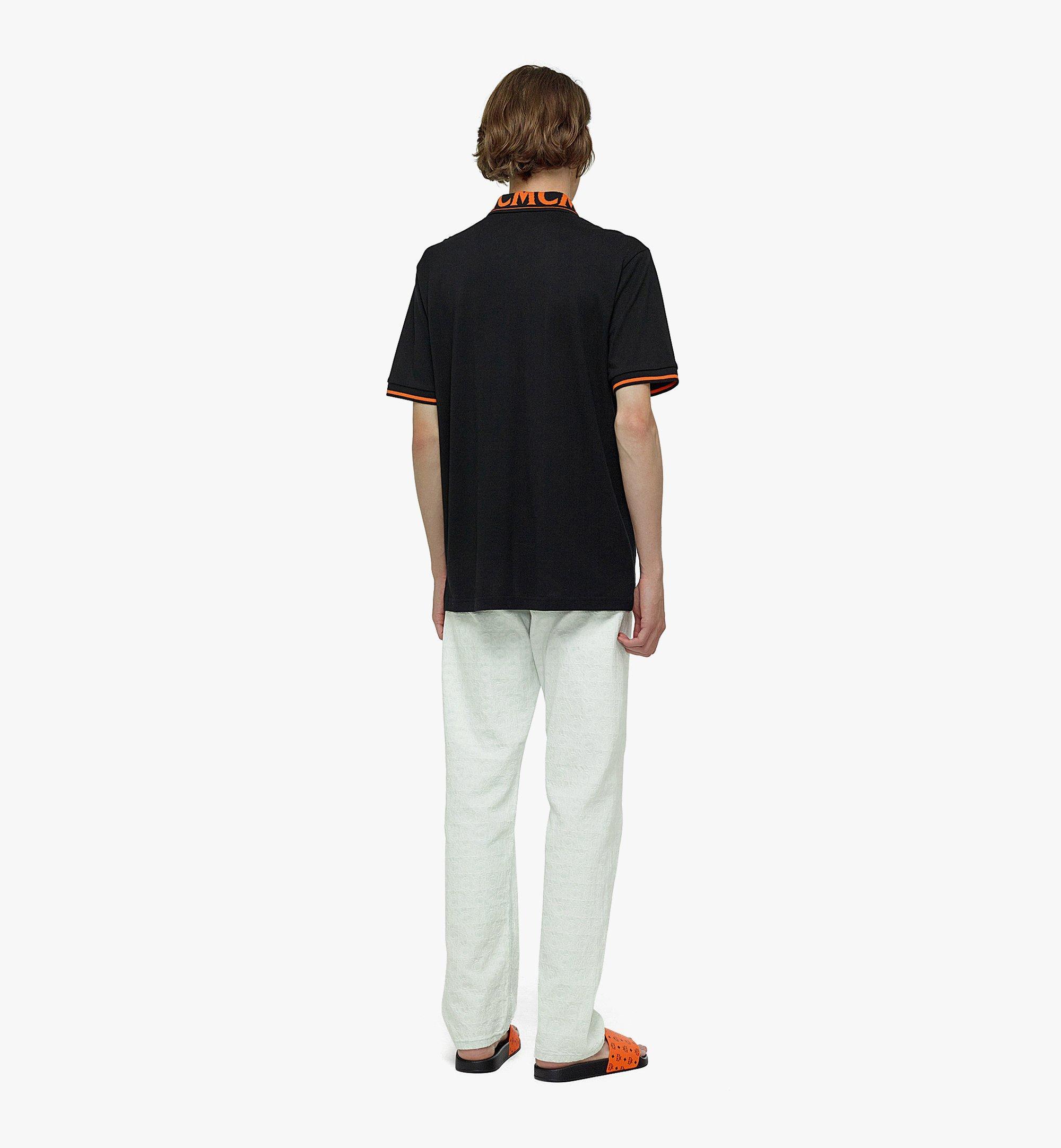 MCM Men's Logo Polo Shirt in Cotton Piqué Orange MHTBAMM04O900L Alternate View 2
