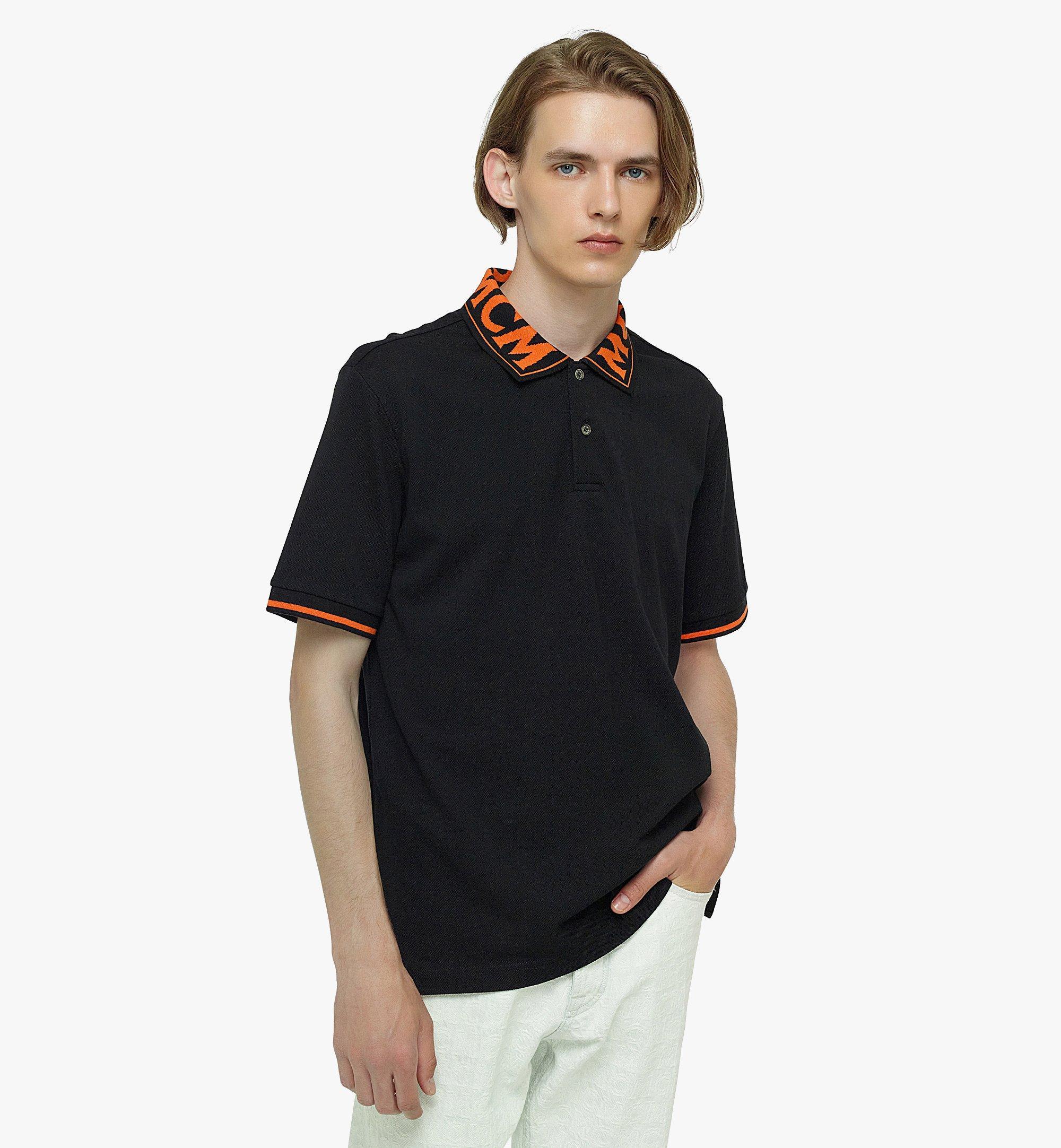 MCM Men's Logo Polo Shirt in Cotton Piqué Orange MHTBAMM04O90XL Alternate View 2