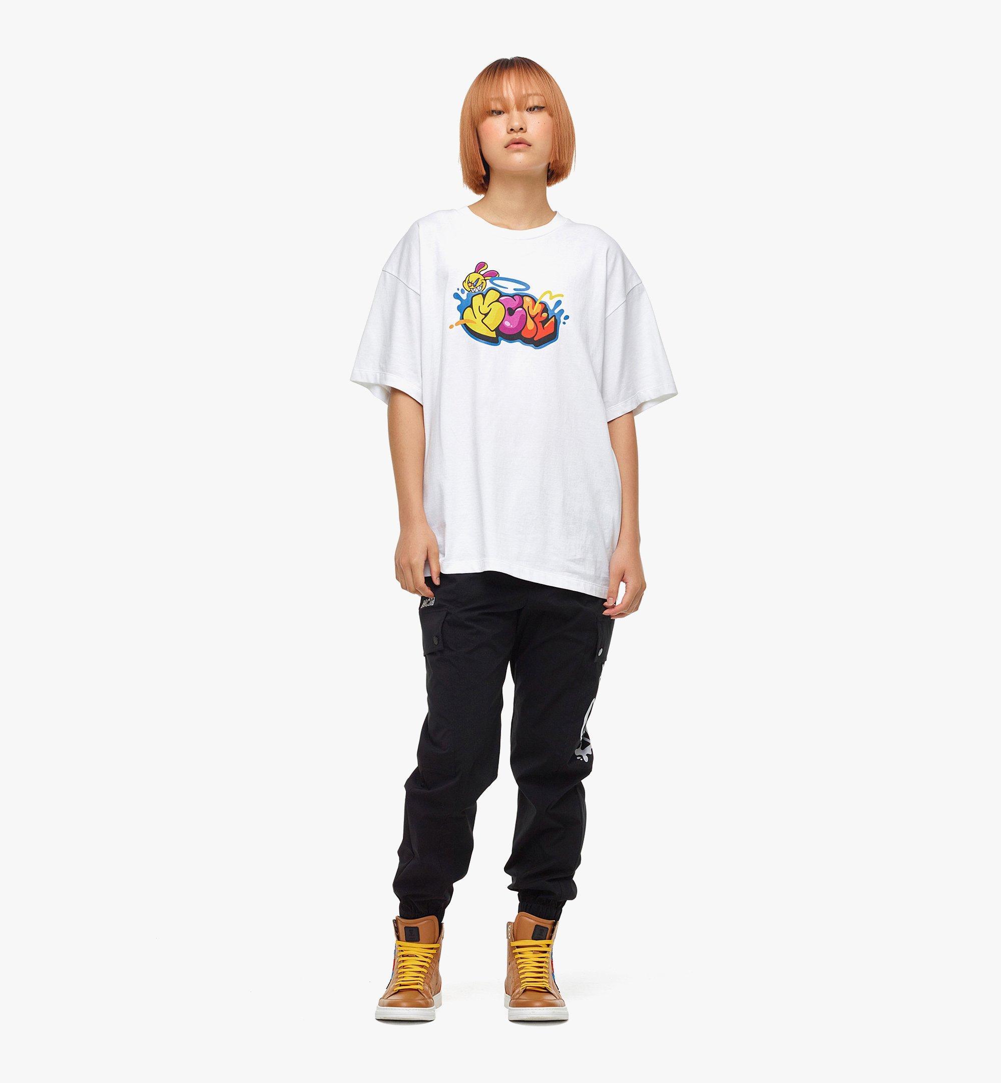 MCM MCM x SAMBYPEN T-Shirt mit gedrucktem Logo White MHTBASP02WD00M Noch mehr sehen 5