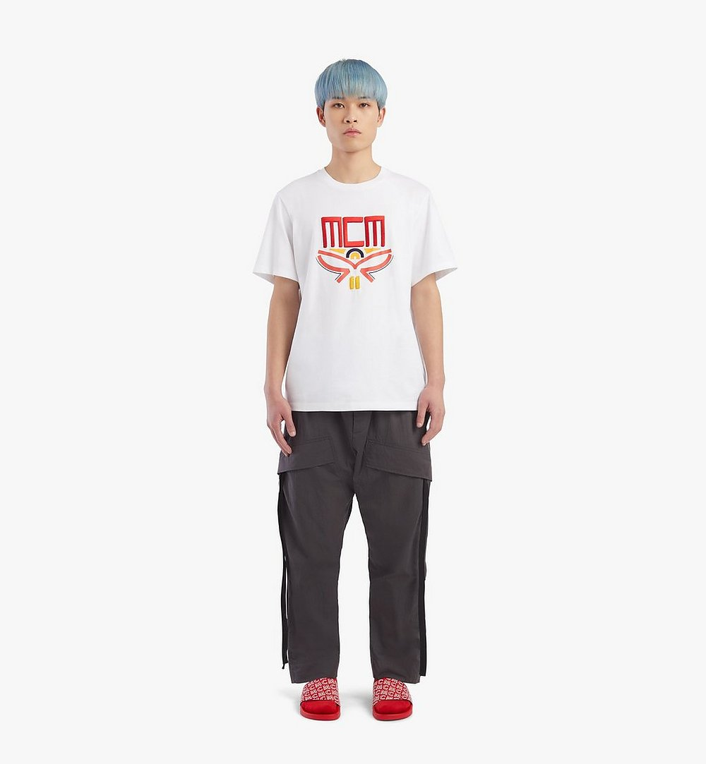 MCM Men's Geo Laurel T-Shirt White MHTBSMM06WT00M Alternate View 3