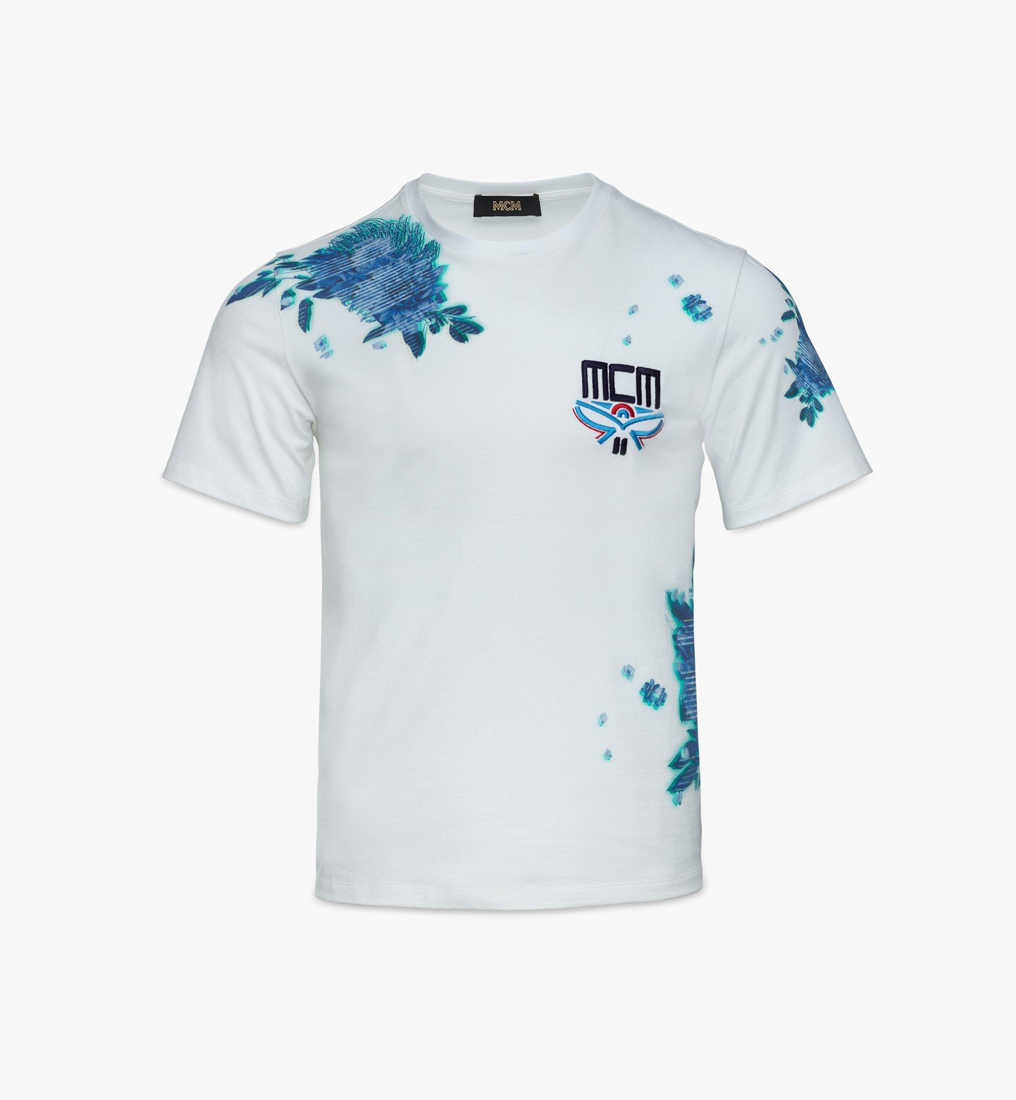 MCM Men's Tech Flower Print T-Shirt White MHTBSMM07WT00M Alternate View 1