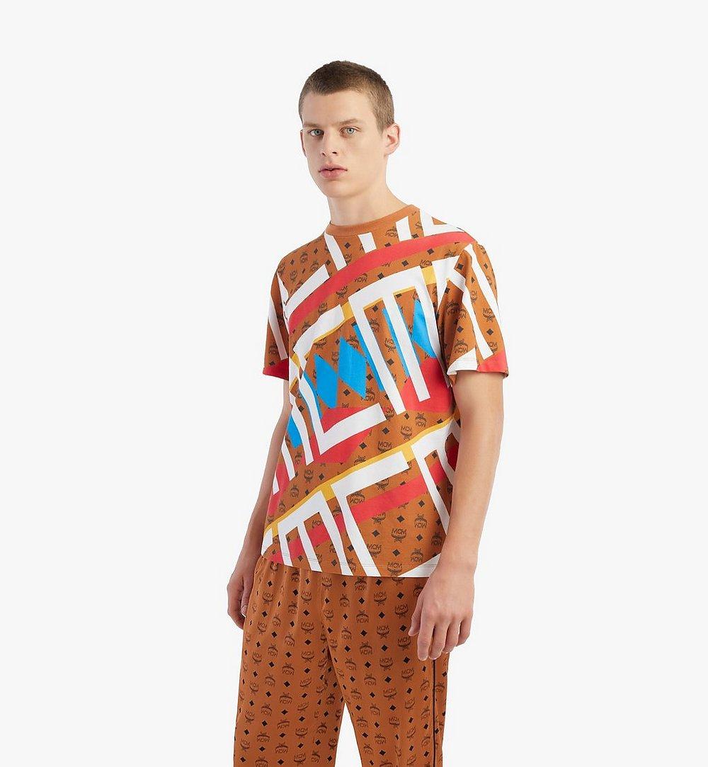 MCM Men's Geo Visetos Print T-Shirt Brown MHTBSMM08N400M Alternate View 2