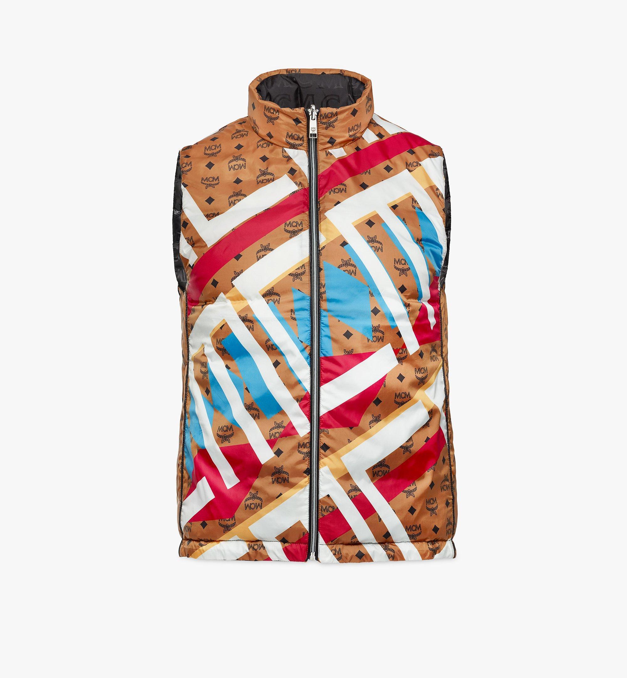 MCM Reversible Puffer Vest in Geo Graffiti Nylon Cognac MHVBSMM01CB050 Alternate View 1