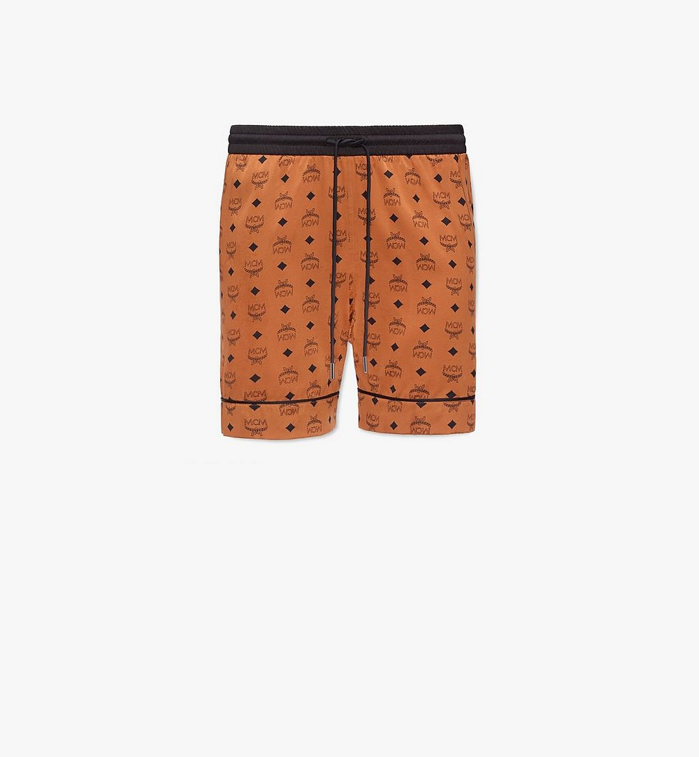 MCM Men's Silk Print Boxer Shorts Cognac MHXBSMM07CO00M Alternate View 1