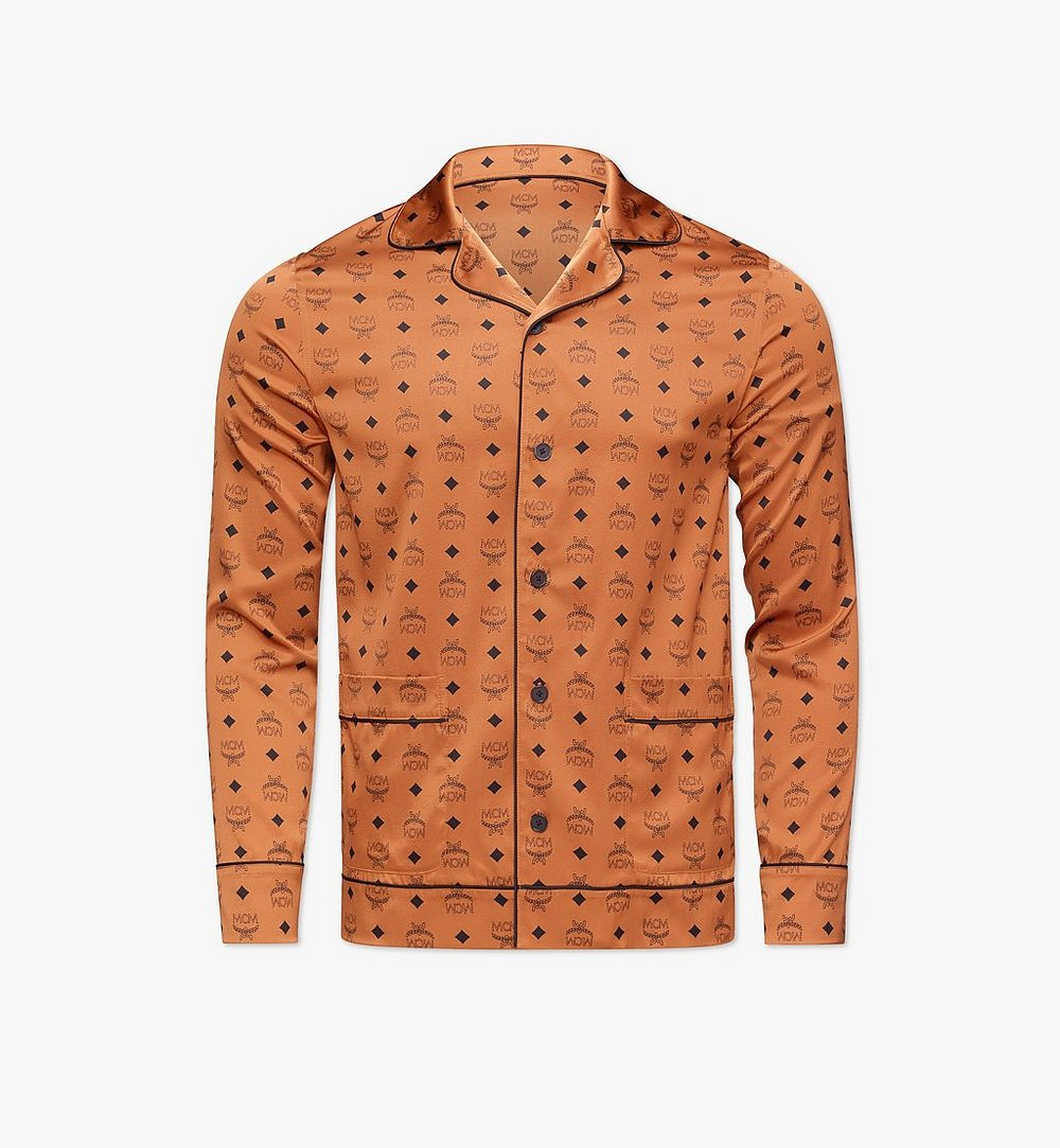 MCM Classic Logo Silk Pajama Shirt Cognac MHXBSMM08CO00L Alternate View 1
