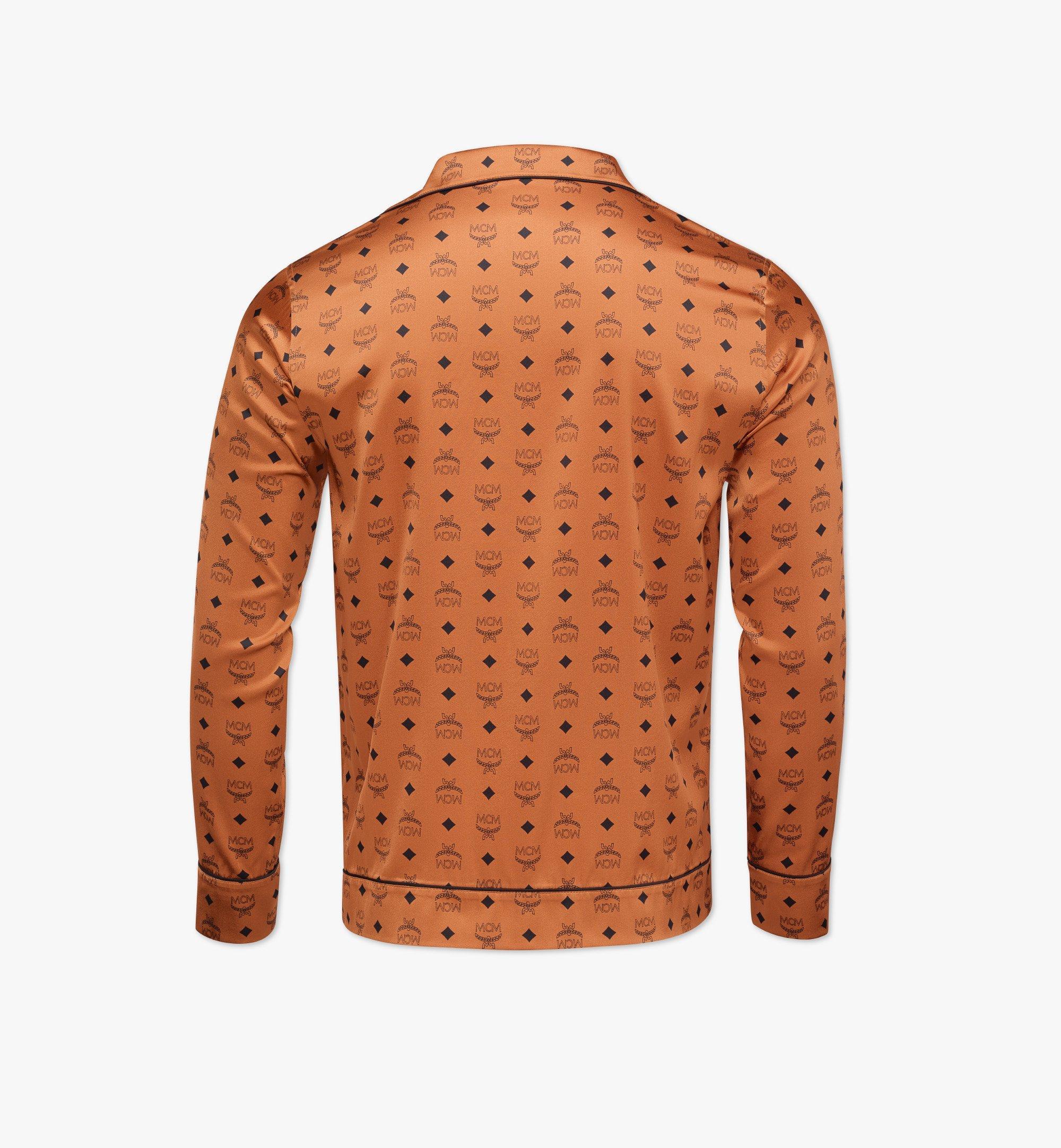 MCM Classic Logo Silk Pajama Shirt Cognac MHXBSMM08CO00M Alternate View 1