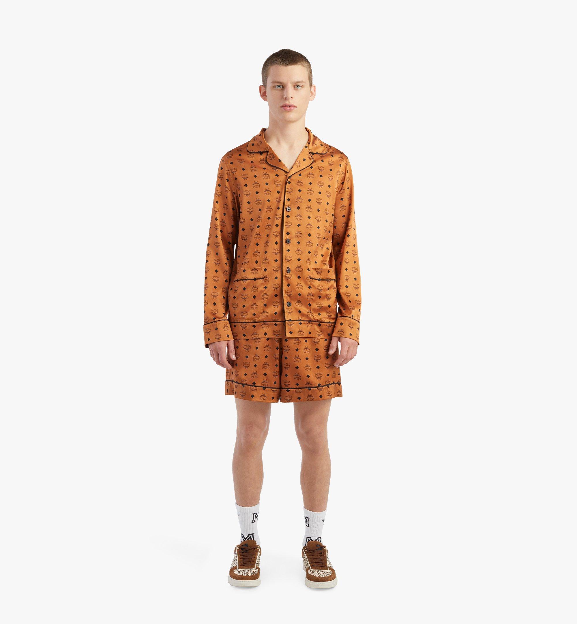 MCM Veste de pyjama classique en soie à imprimé logo Cognac MHXBSMM08CO00S Plus de photos 2