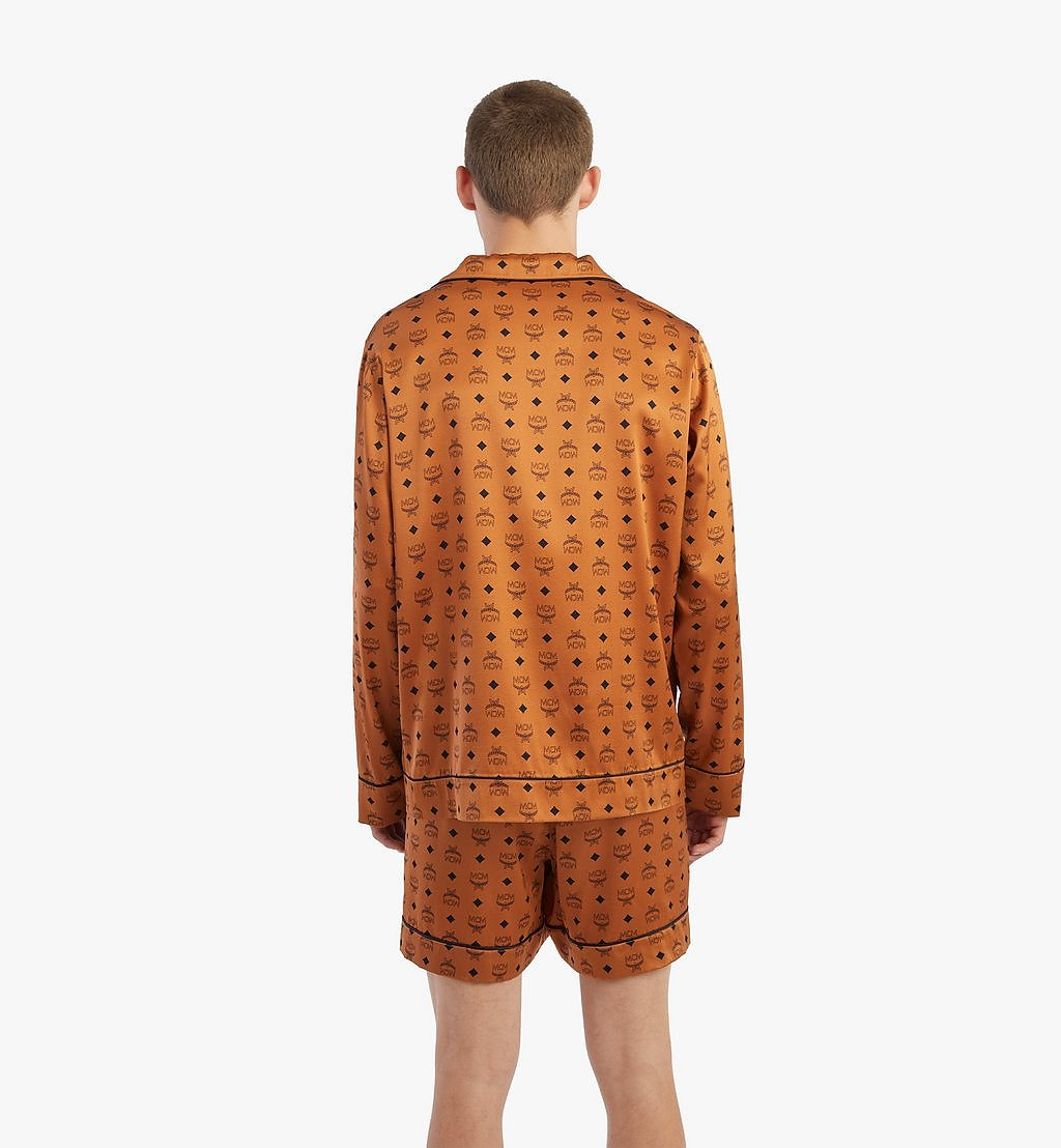 MCM Classic Logo Silk Pajama Shirt Cognac MHXBSMM08CO00S Alternate View 3