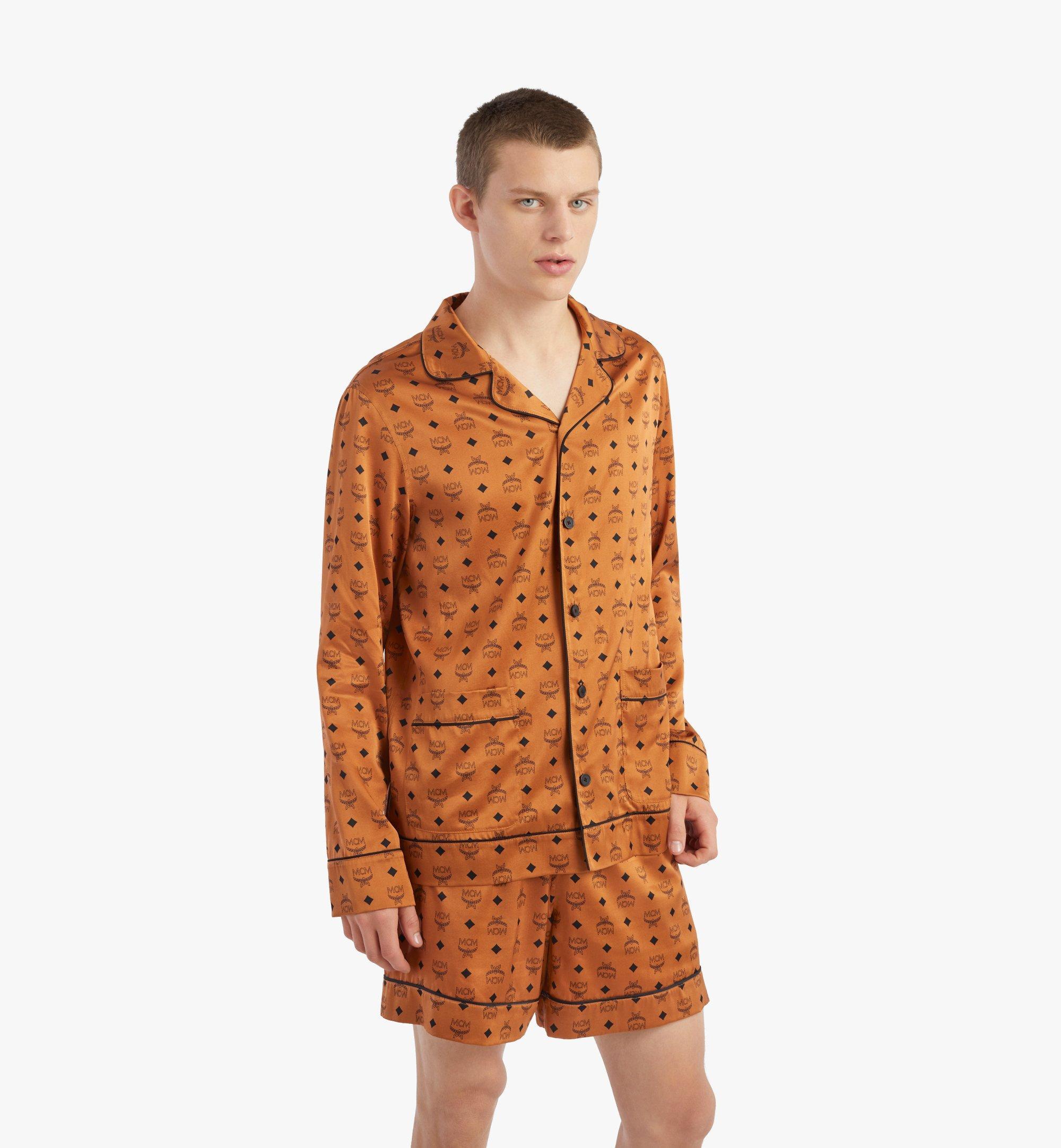 MCM Veste de pyjama classique en soie à imprimé logo Cognac MHXBSMM08CO00S Plus de photos 4