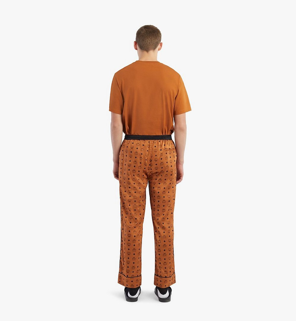 MCM Classic Logo Silk Pajama Pants Cognac MHXBSMM09CO00L Alternate View 2