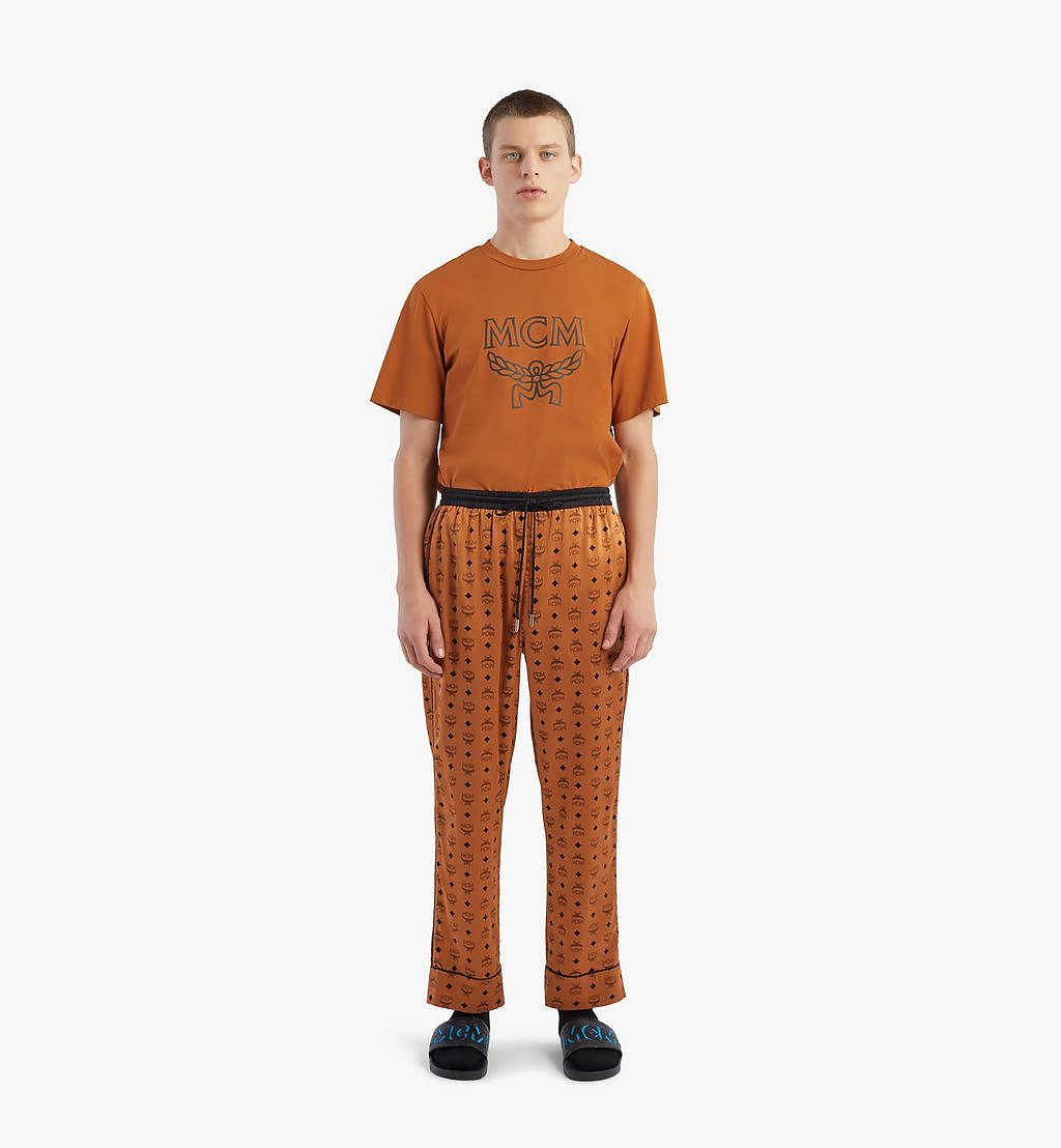 MCM Klassische Pyjamahose aus Seide mit Logo Cognac MHXBSMM09CO00M Noch mehr sehen 3