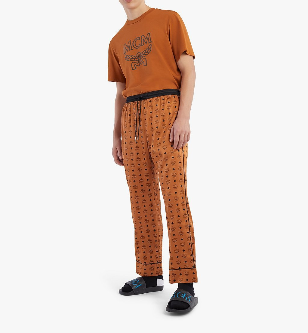 MCM Classic Logo Silk Pajama Pants Cognac MHXBSMM09CO00M Alternate View 2