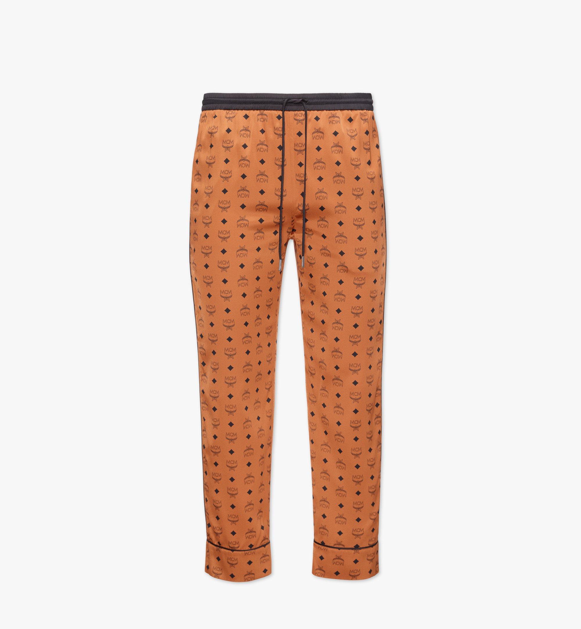MCM Pantalon de pyjama classique en soie à imprimé logo Cognac MHXBSMM09CO0XL Plus de photos 1