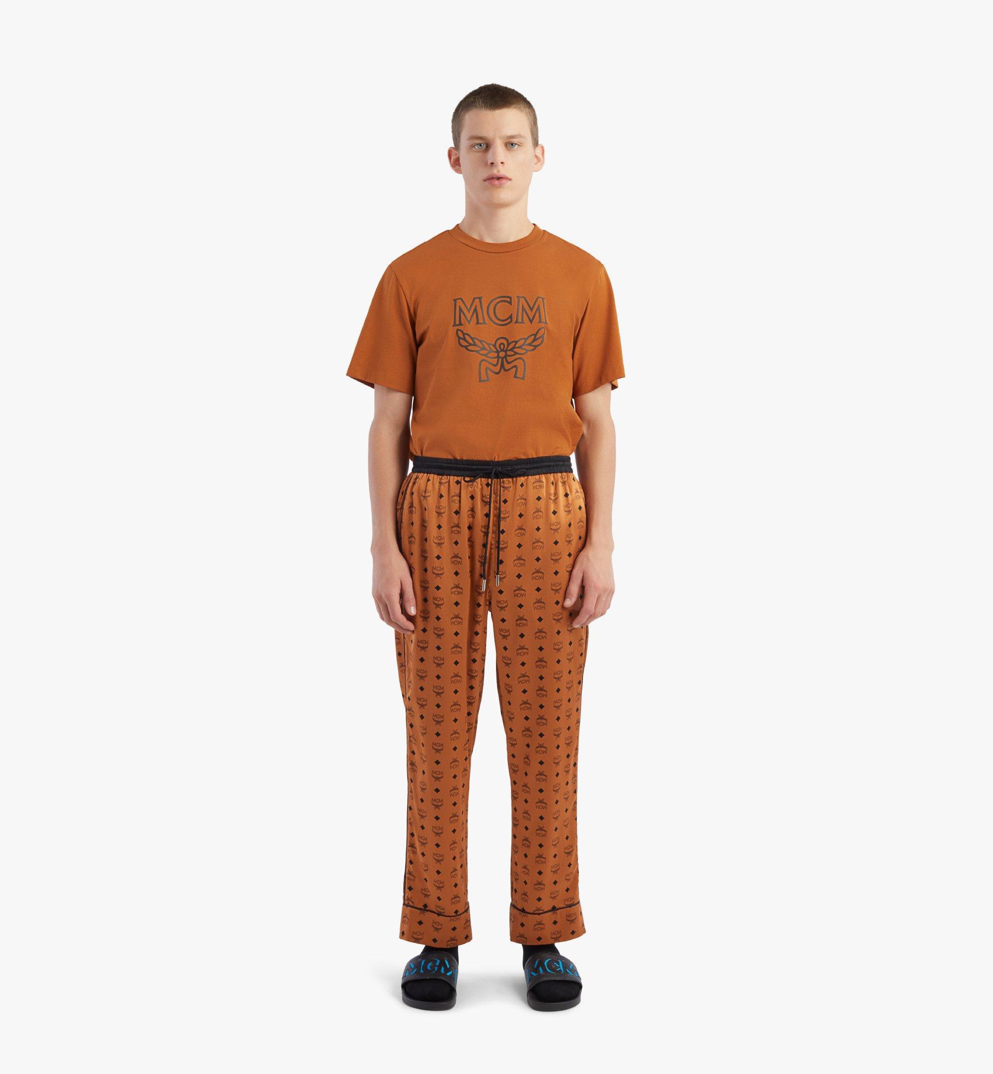 MCM Pantalon de pyjama classique en soie à imprimé logo Cognac MHXBSMM09CO0XL Plus de photos 3