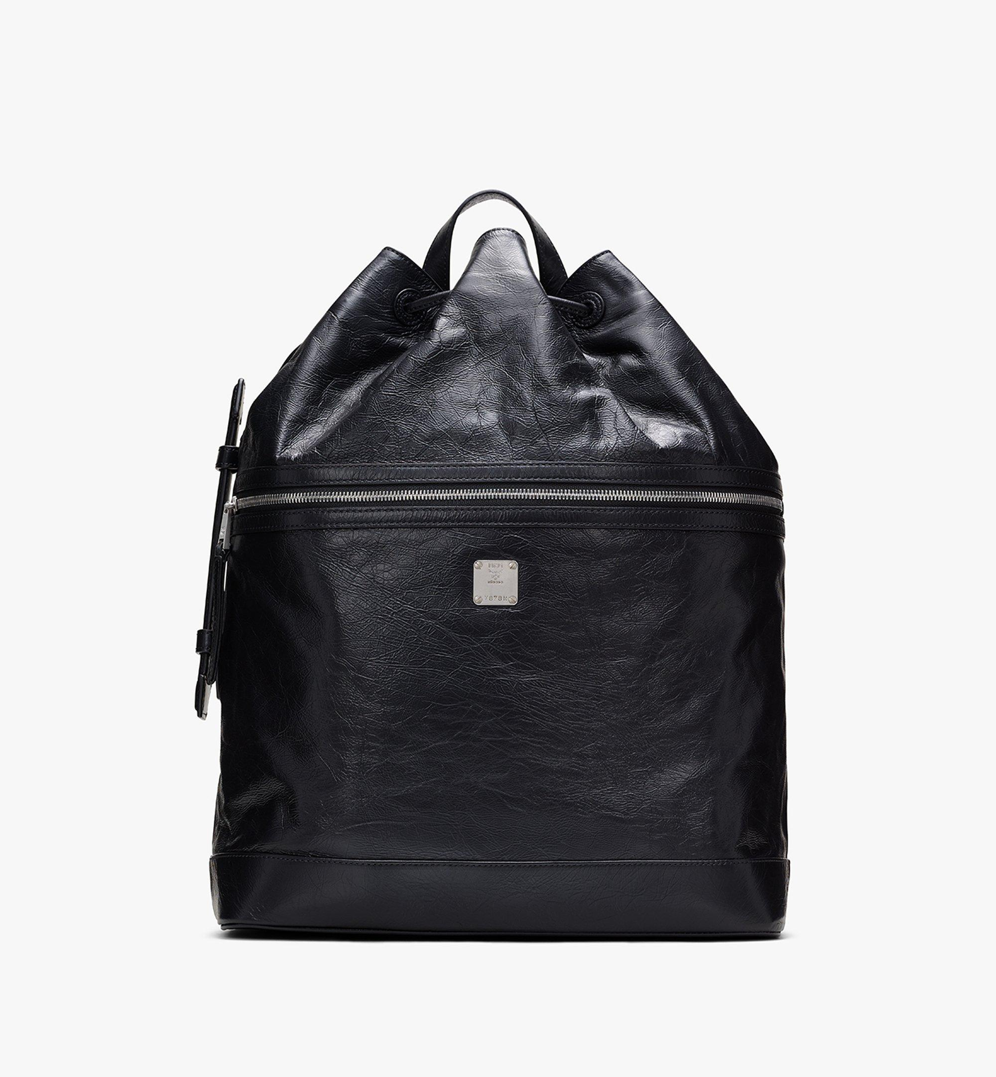 MCM Klassik Drawstring Backpack in Crushed Leather Black MMDASKC01BK001 Alternate View 1