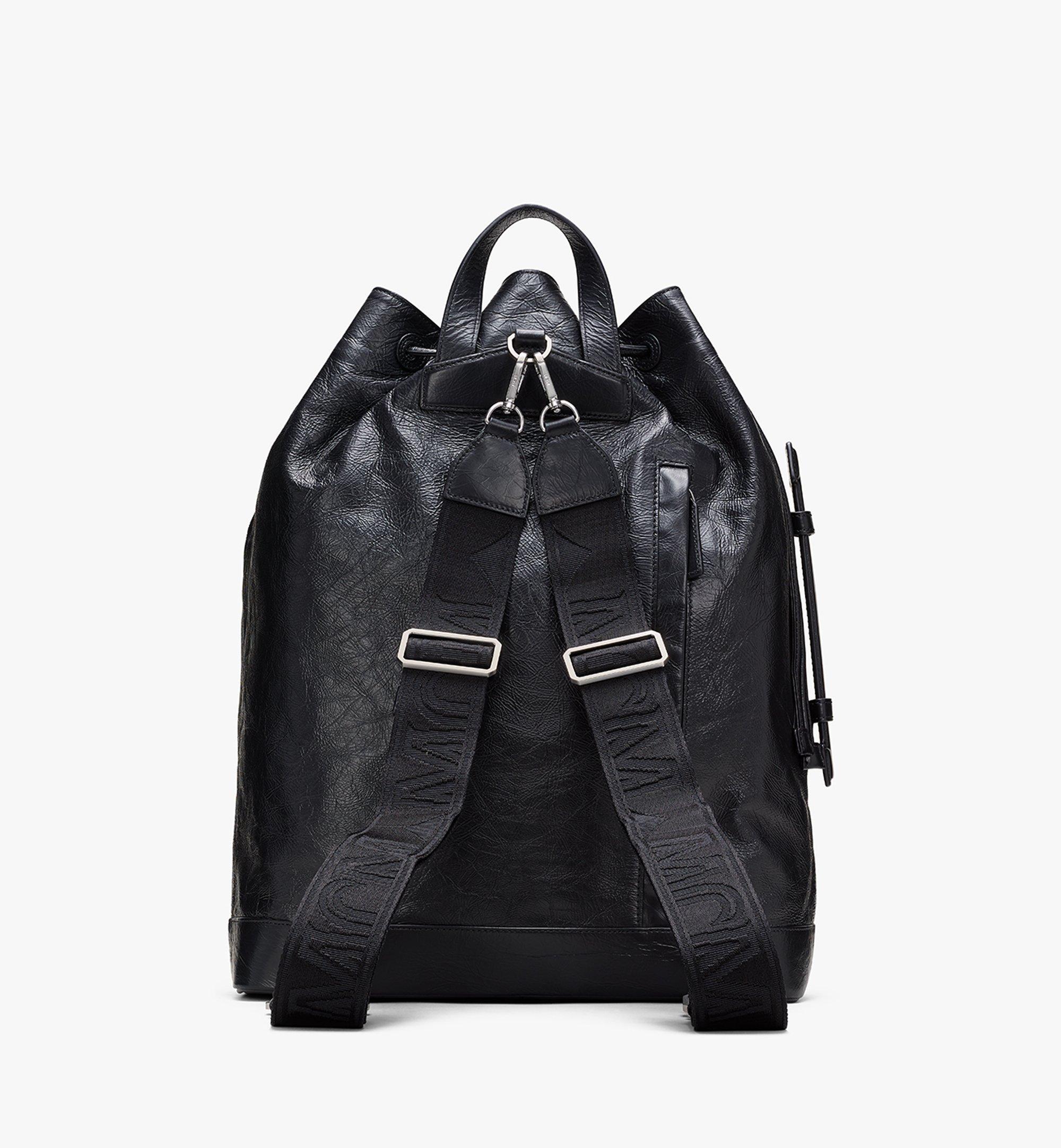 MCM Klassik Drawstring Backpack in Crushed Leather Black MMDASKC01BK001 Alternate View 3