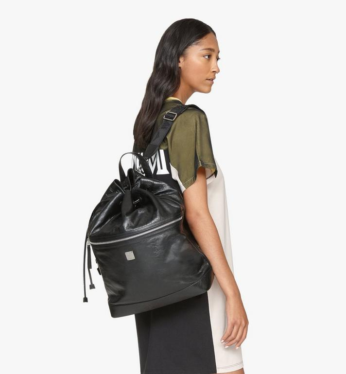 MCM Klassik Drawstring Backpack in Crushed Leather Black MMDASKC01BK001 Alternate View 5