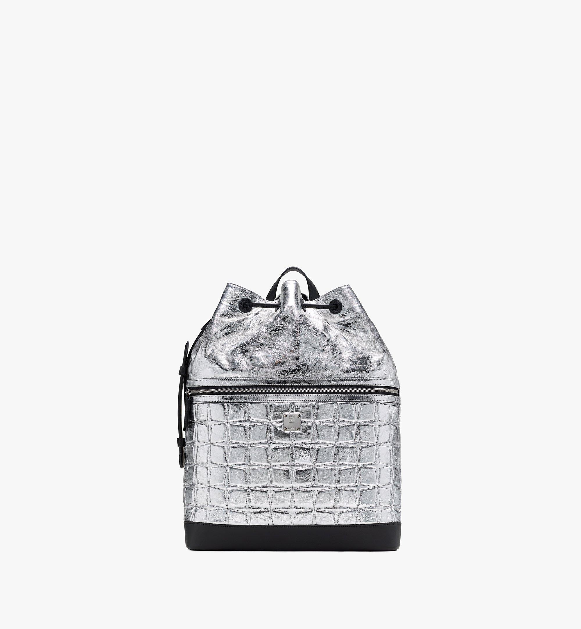 MCM Klassik Drawstring Backpack in Quilted Diamond Leather Silver MMDASKC03SA001 Alternate View 1