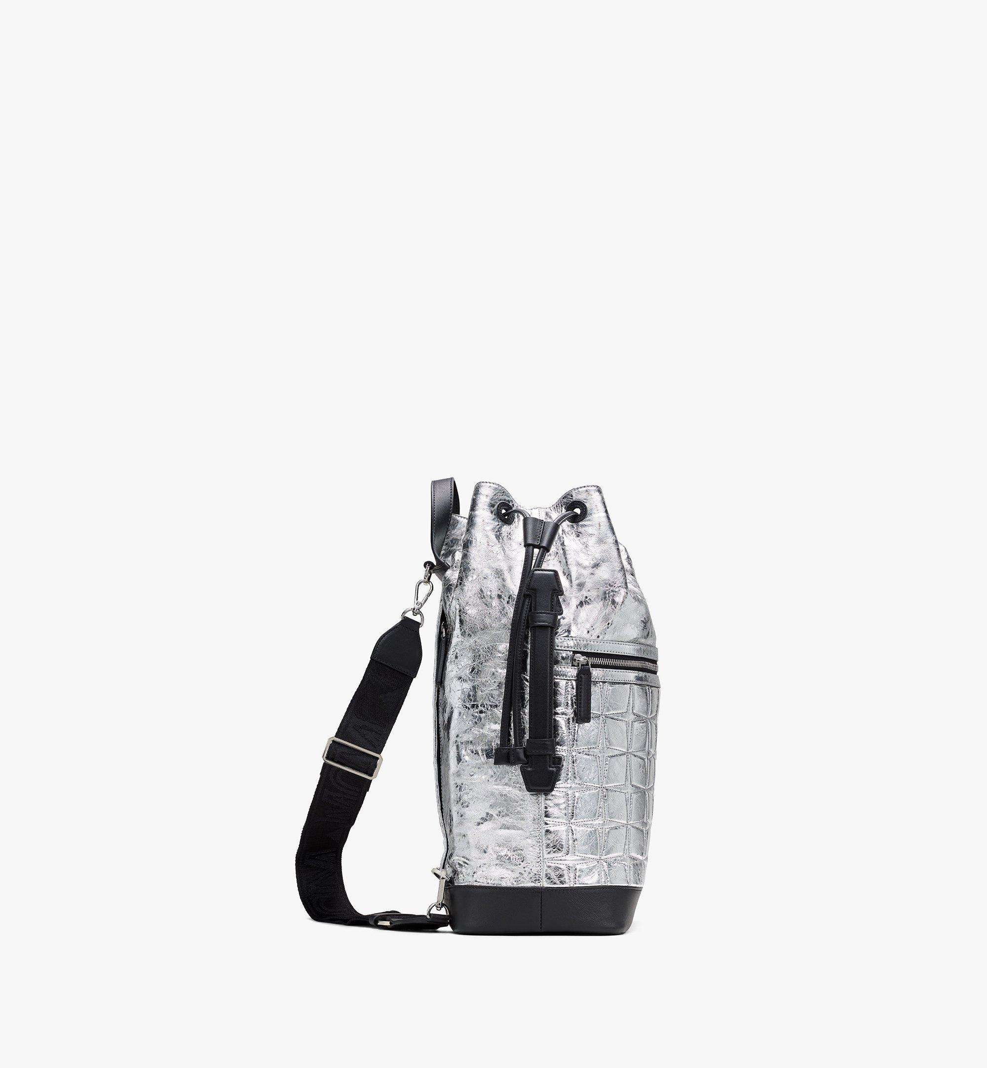 MCM Klassik Drawstring Backpack in Quilted Diamond Leather Silver MMDASKC03SA001 Alternate View 2