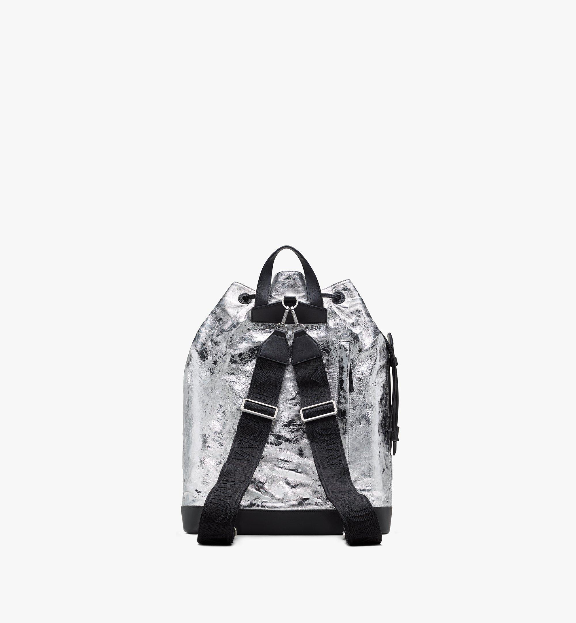 MCM Klassik Drawstring Backpack in Quilted Diamond Leather Silver MMDASKC03SA001 Alternate View 3