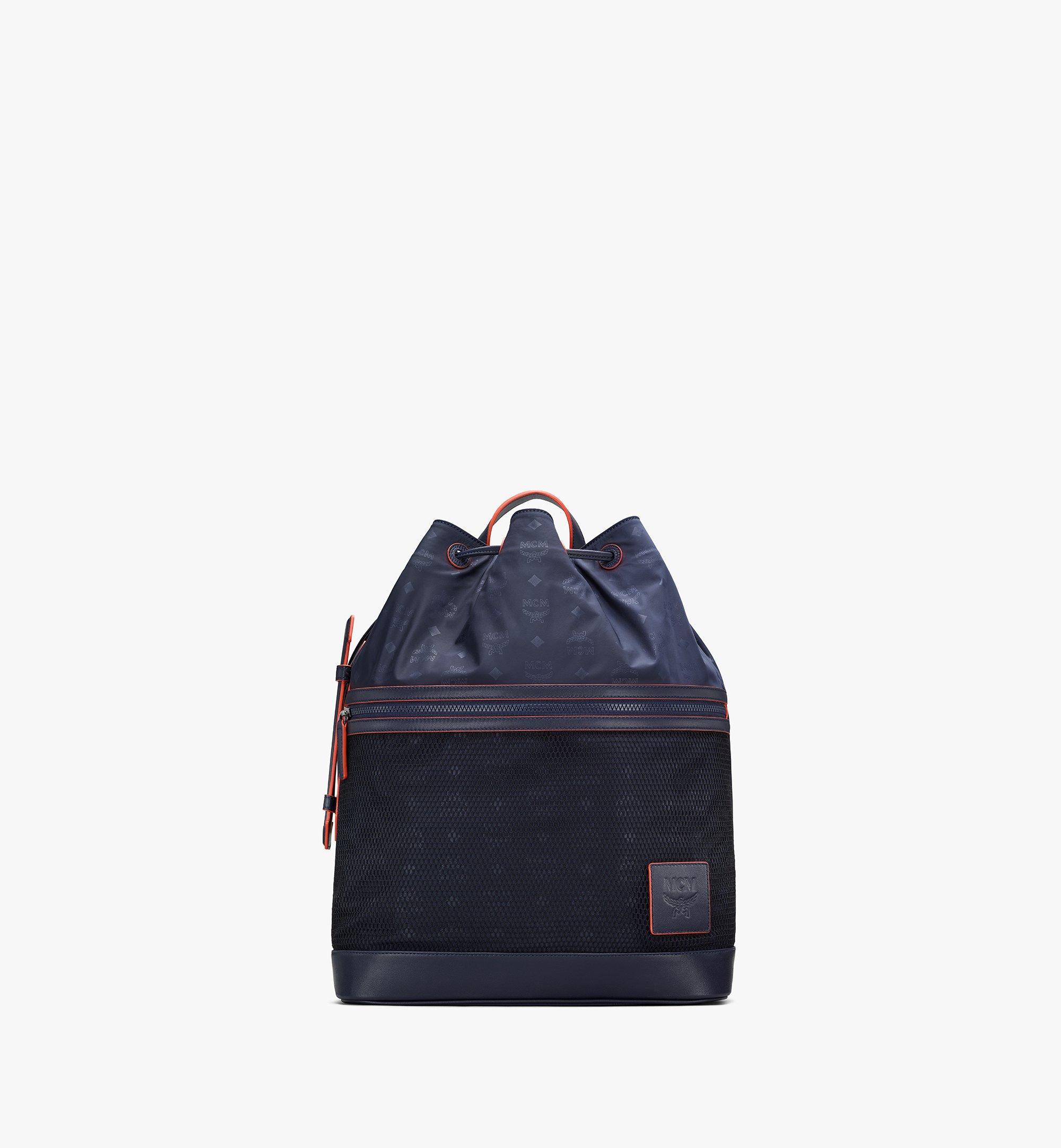 MCM Klassik Drawstring Backpack in Monogram Nylon Blue MMDASKC04VA001 Alternate View 1