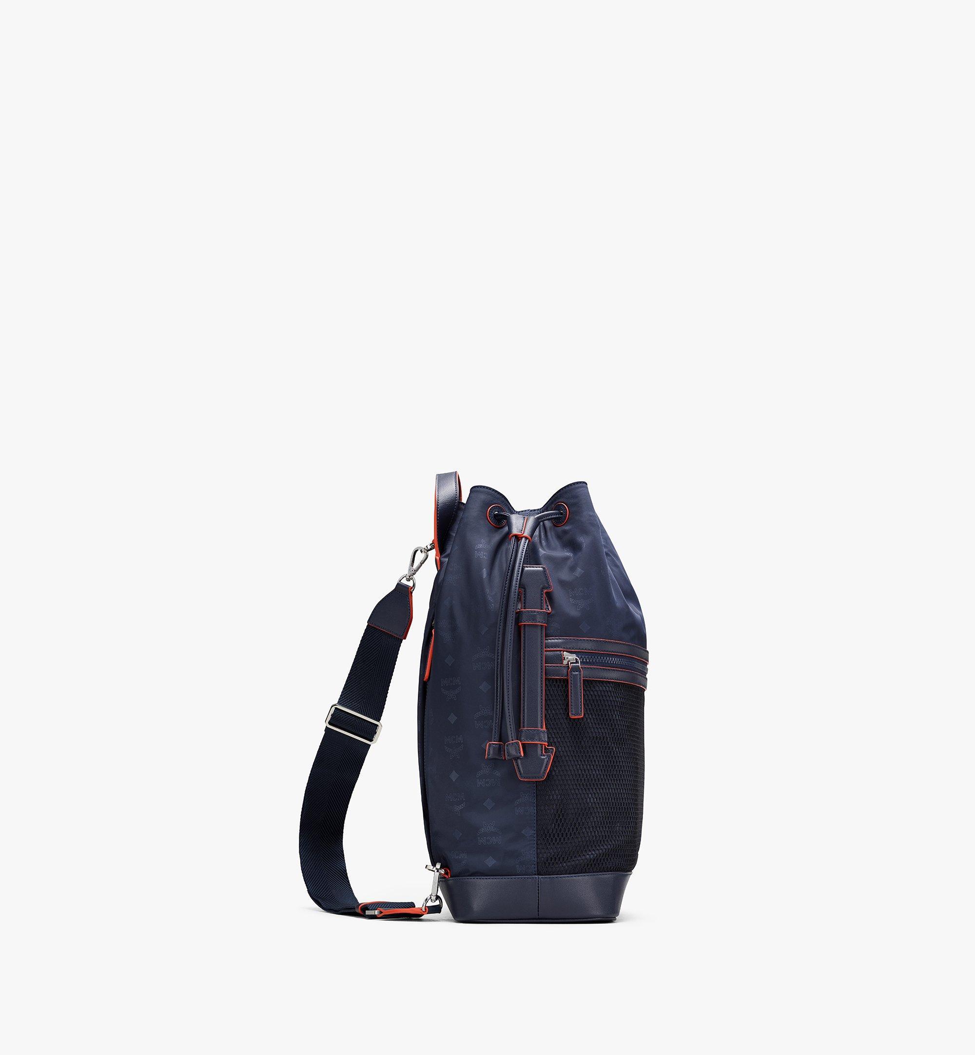 MCM Klassik Drawstring Backpack in Monogram Nylon Blue MMDASKC04VA001 Alternate View 2