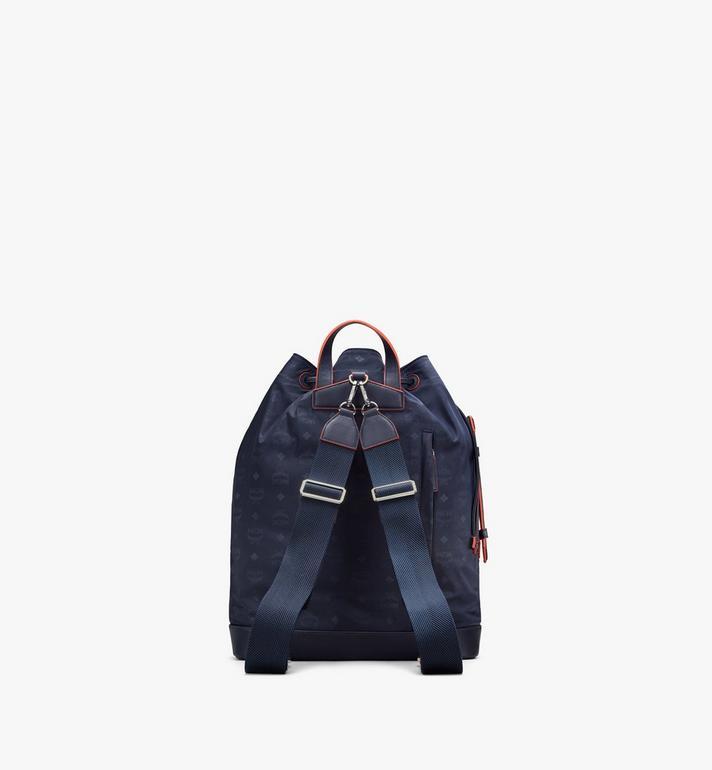 MCM Klassik Drawstring Backpack in Monogram Nylon Blue MMDASKC04VA001 Alternate View 3