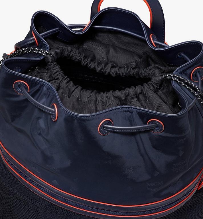 MCM Klassik Drawstring Backpack in Monogram Nylon Blue MMDASKC04VA001 Alternate View 4