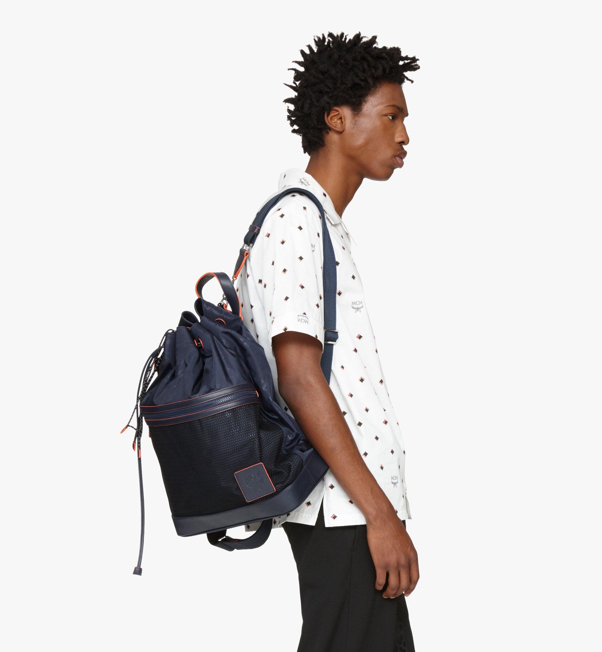 MCM Klassik Drawstring Backpack in Monogram Nylon Blue MMDASKC04VA001 Alternate View 5