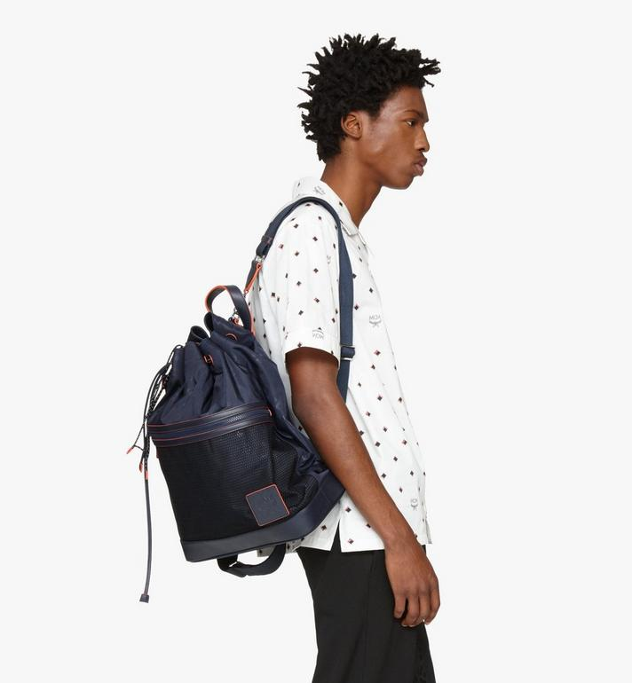 MCM Klassik Drawstring Backpack in Monogram Nylon Blue MMDASKC04VA001 Alternate View 5