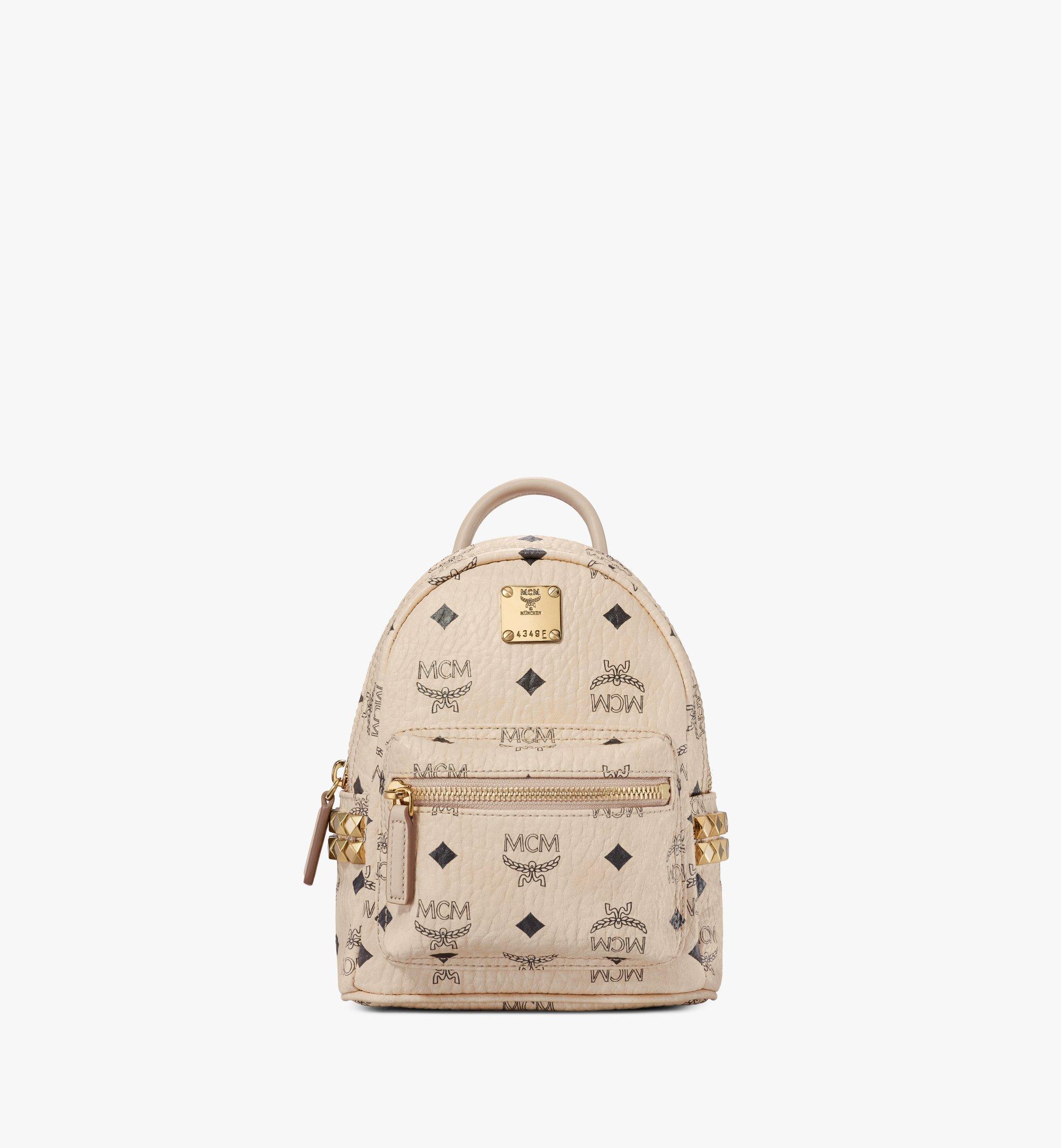 MCM Stark Bebe Boo Backpack in Visetos Beige MMK6AVE92IG001 Alternate View 1