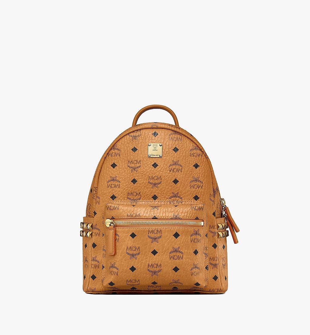 MCM Stark Side Studs Backpack in Visetos Cognac MMK6SVE37CO001 Alternate View 1