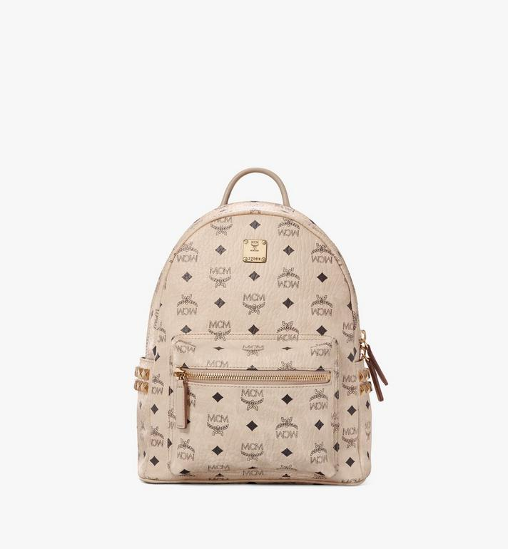 MCM Stark Side Studs Backpack in Visetos Beige MMK6SVE37IG001 Alternate View 1