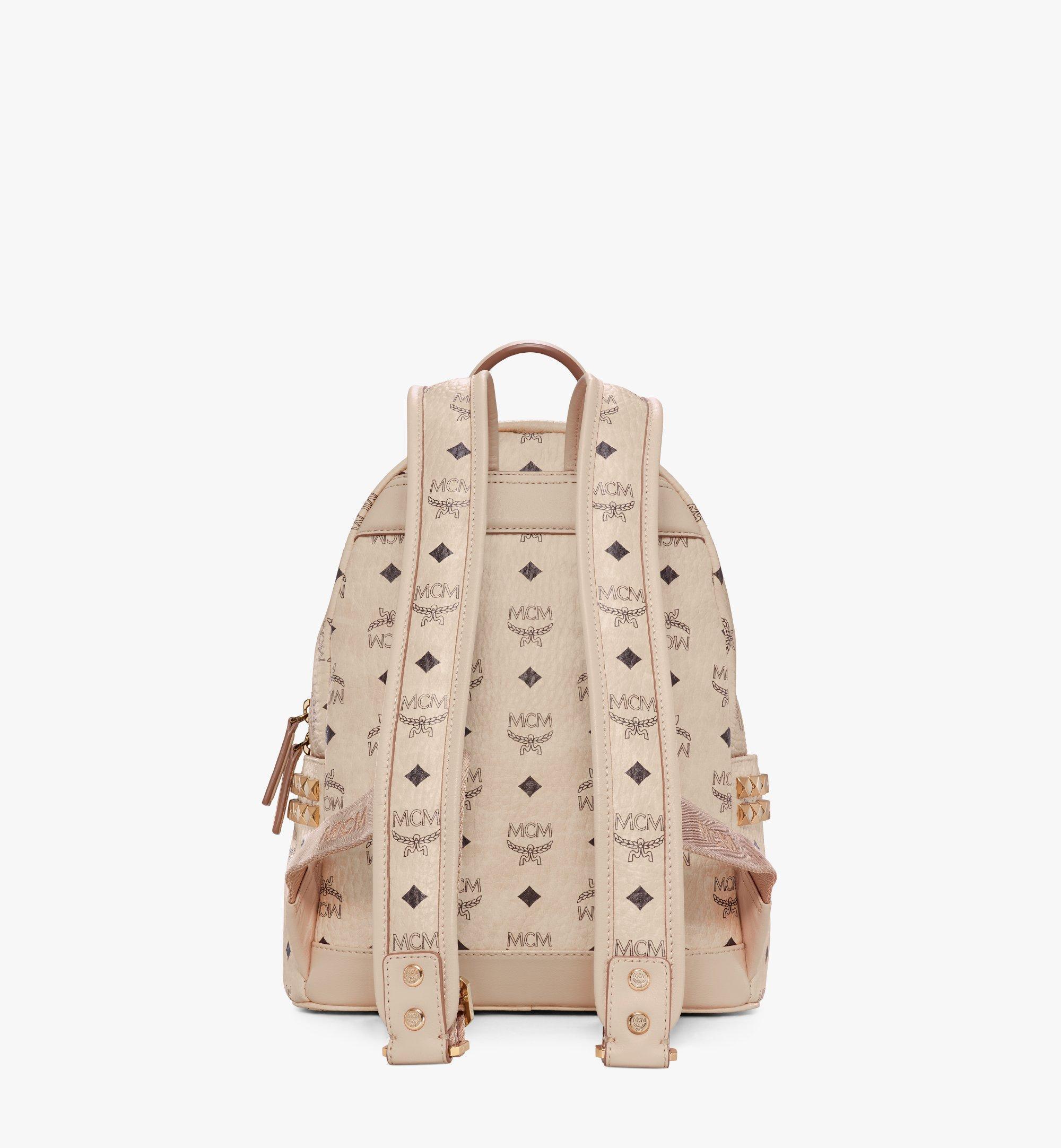 MCM Stark Side Studs Backpack in Visetos Beige MMK6SVE37IG001 Alternate View 4