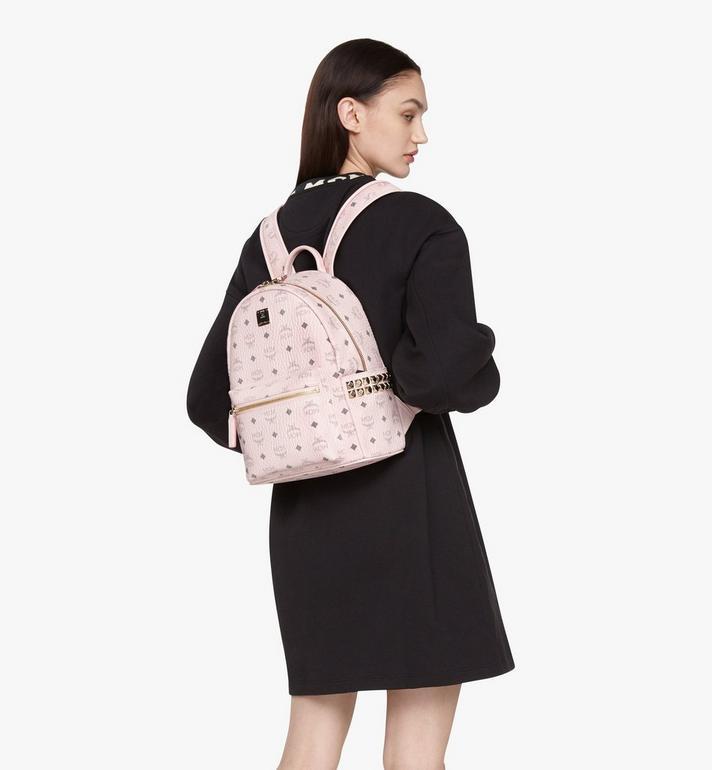 MCM Stark Side Studs Backpack in Visetos Pink MMK6SVE37QH001 Alternate View 5
