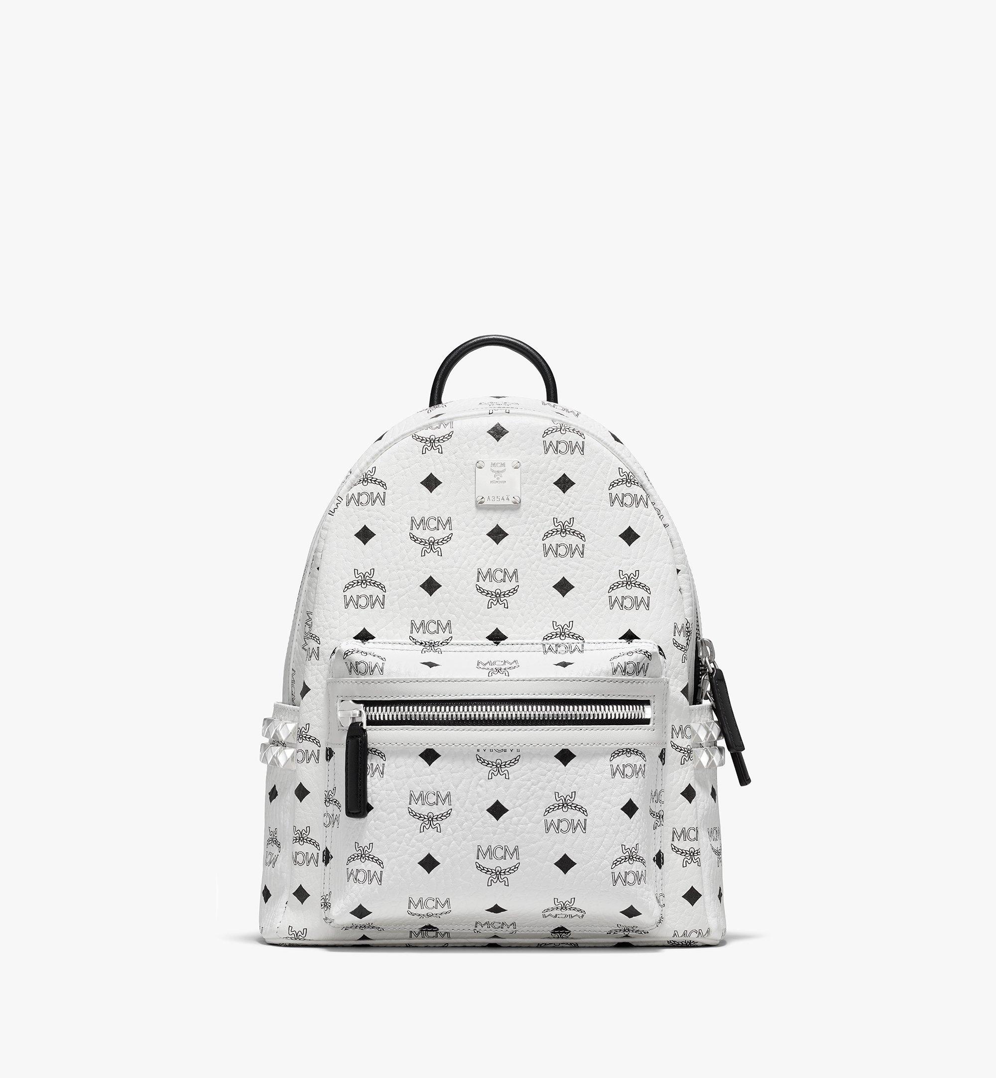MCM Stark Side Studs Backpack in Visetos White MMK6SVE37WT001 Alternate View 1