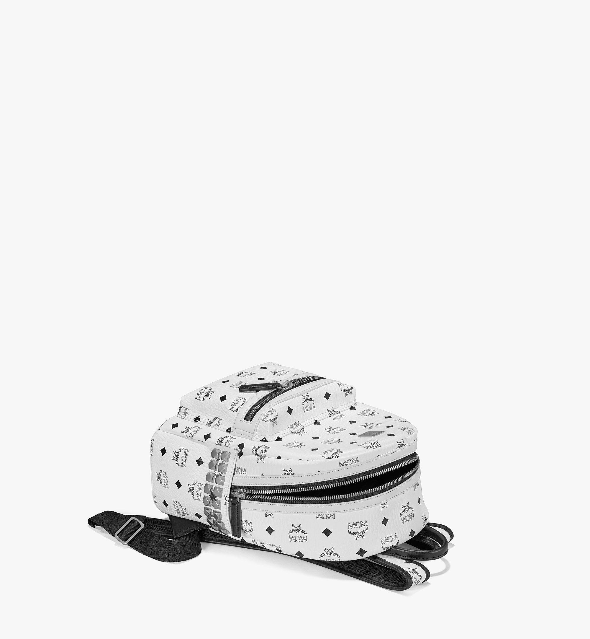 MCM Stark Side Studs Backpack in Visetos White MMK6SVE37WT001 Alternate View 2