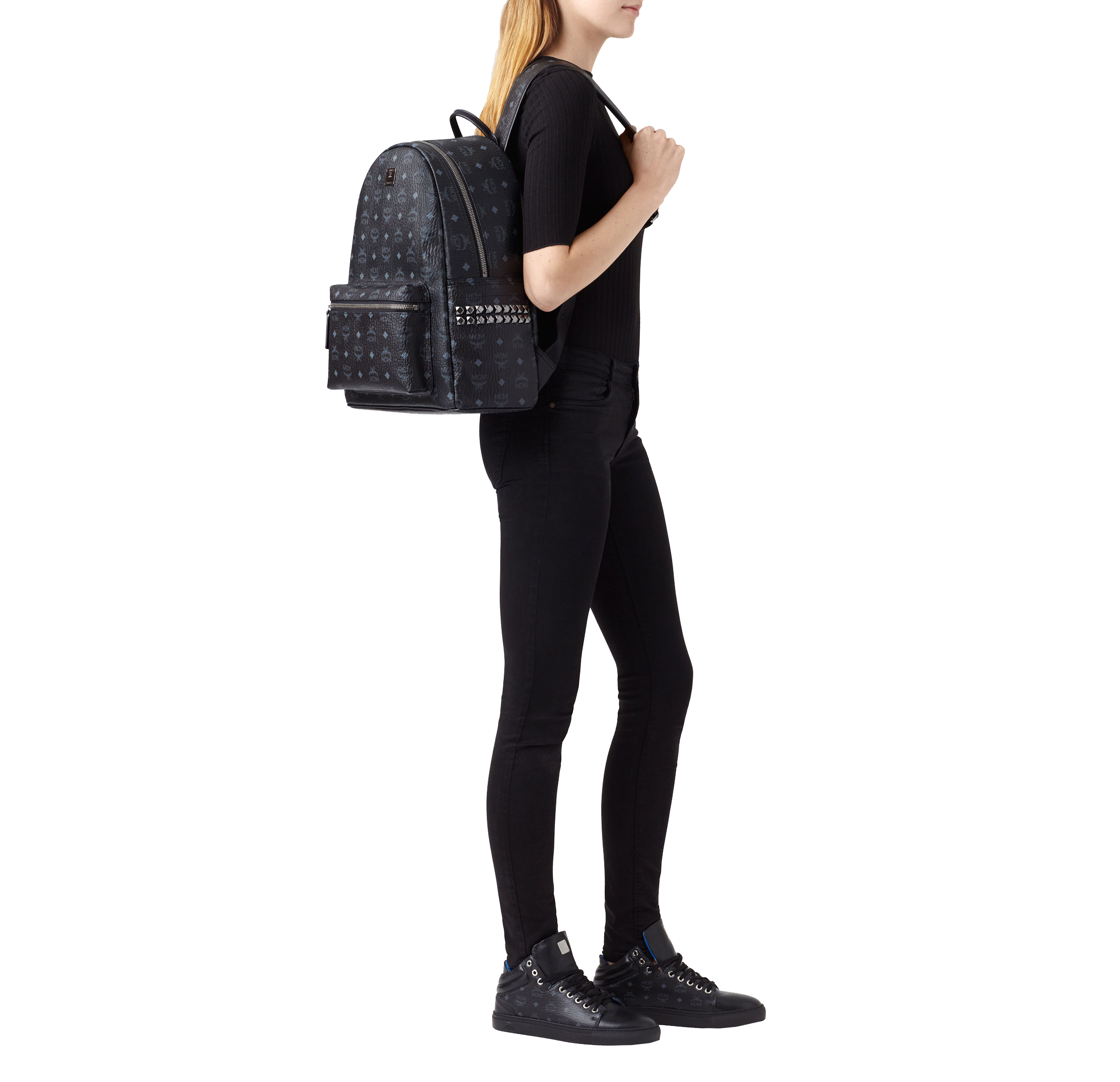 40 cm 16 in 40 cm 16 in Stark Side Studs Backpack in Visetos Black Black