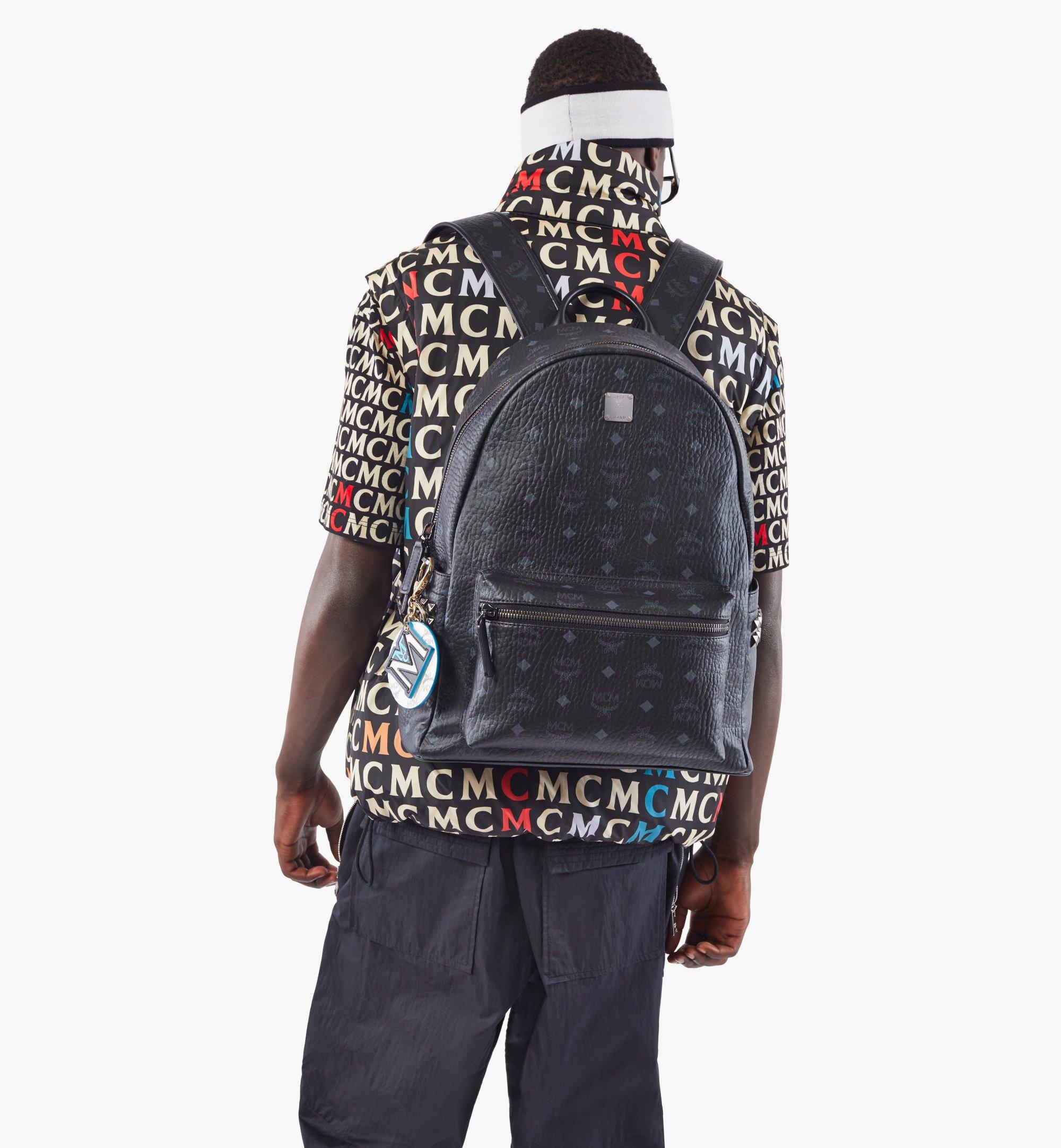 MCM Stark Side Studs Backpack in Visetos Black MMK6SVE38BK001 Alternate View 2